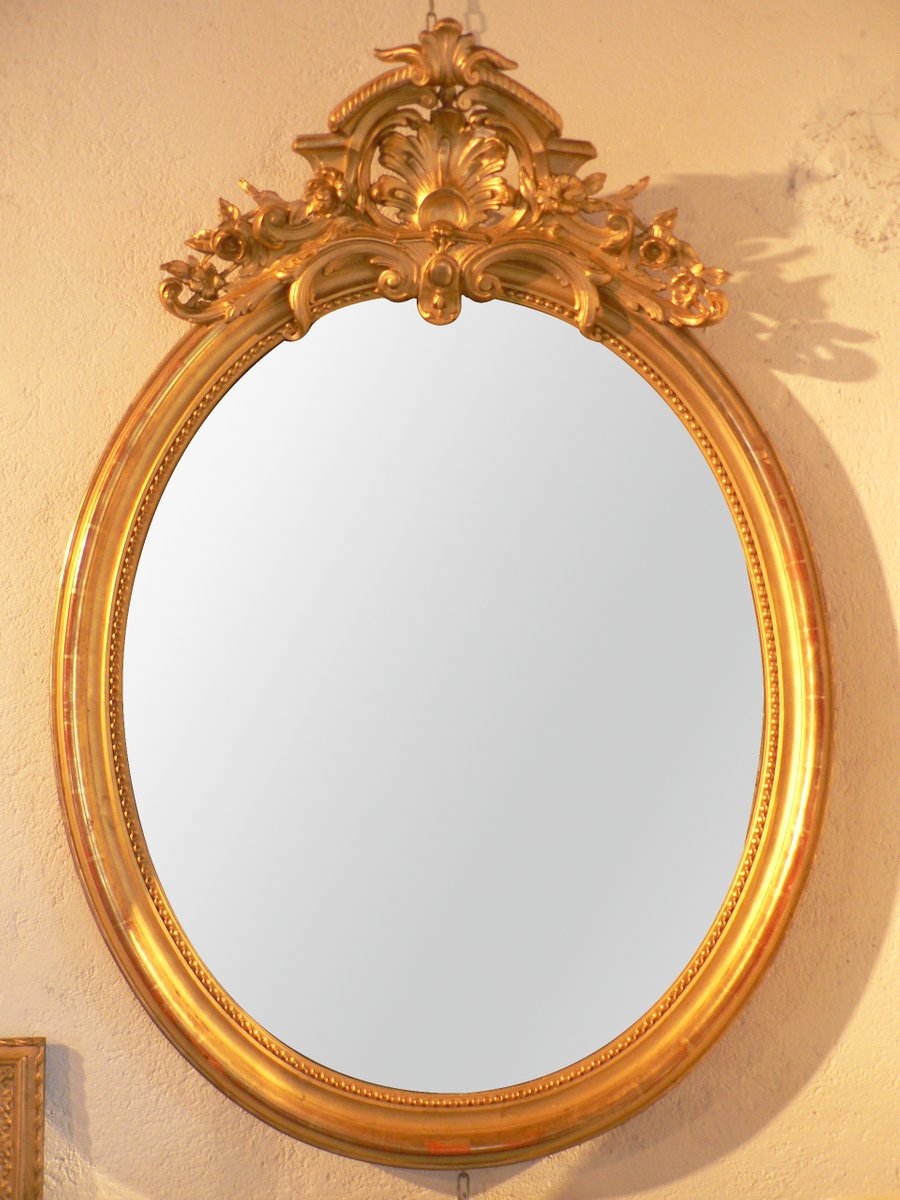 Grand miroir mural antique rococo ovale en vente sur pamono for Grand miroir antique