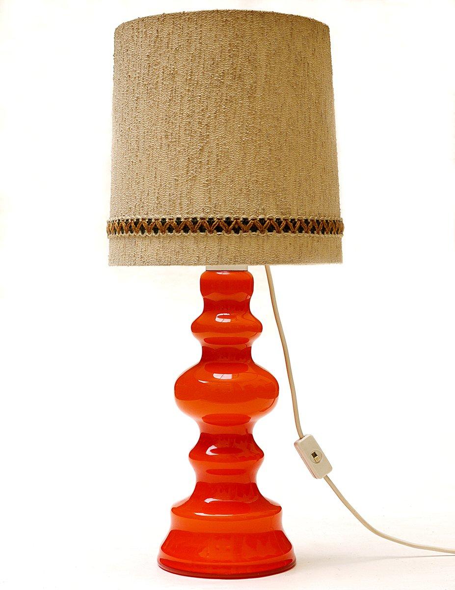 deutsche orangenfarbene glas tischlampe 1960er bei pamono. Black Bedroom Furniture Sets. Home Design Ideas