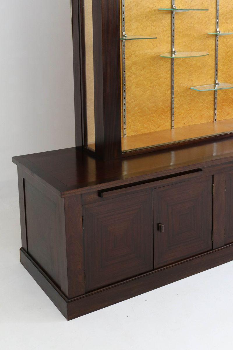 Large mahogany art deco vitrine with glass sliding doors for Decoration vitrine