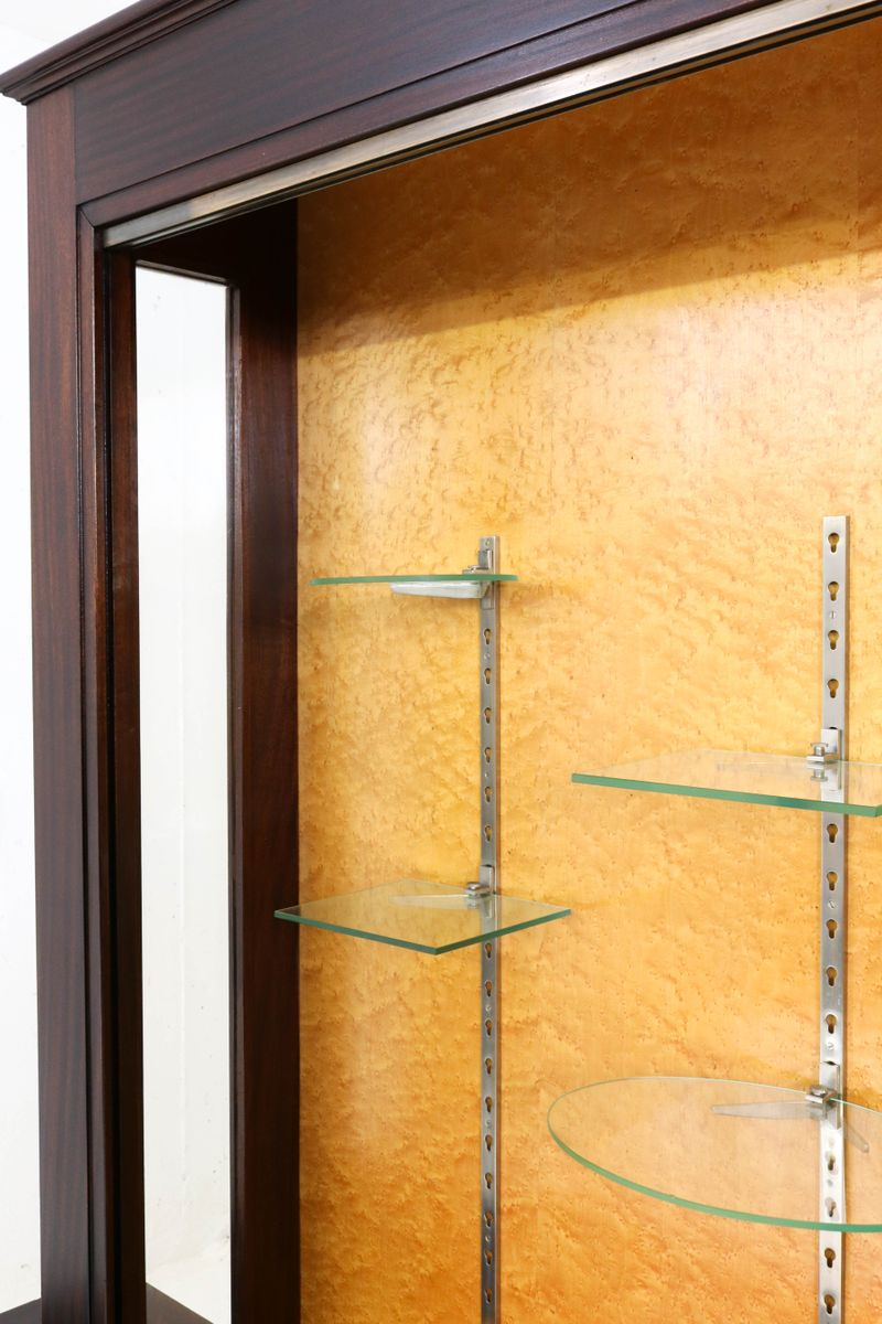 Large mahogany art deco vitrine with glass sliding doors for Oversized exterior doors for sale