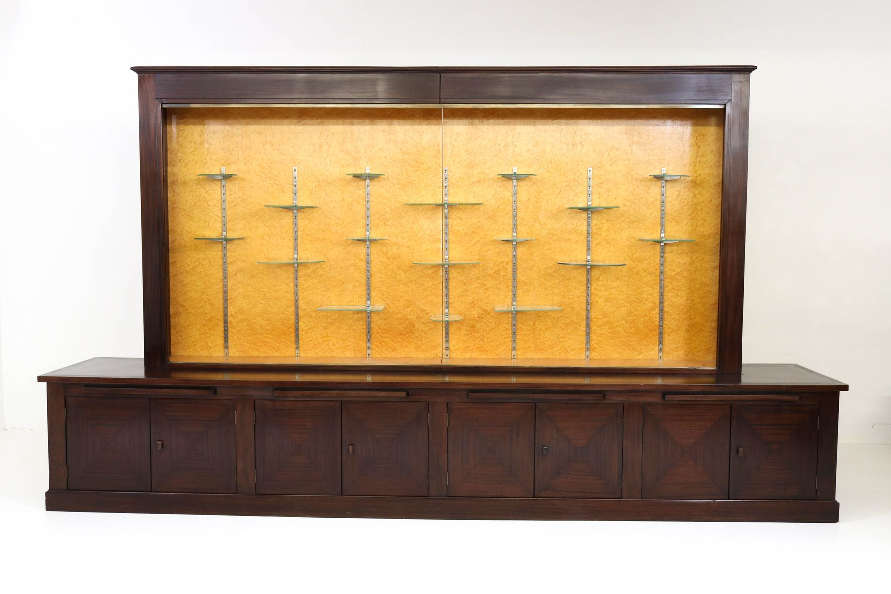 Large mahogany art deco vitrine with glass sliding doors for Large sliding glass doors for sale