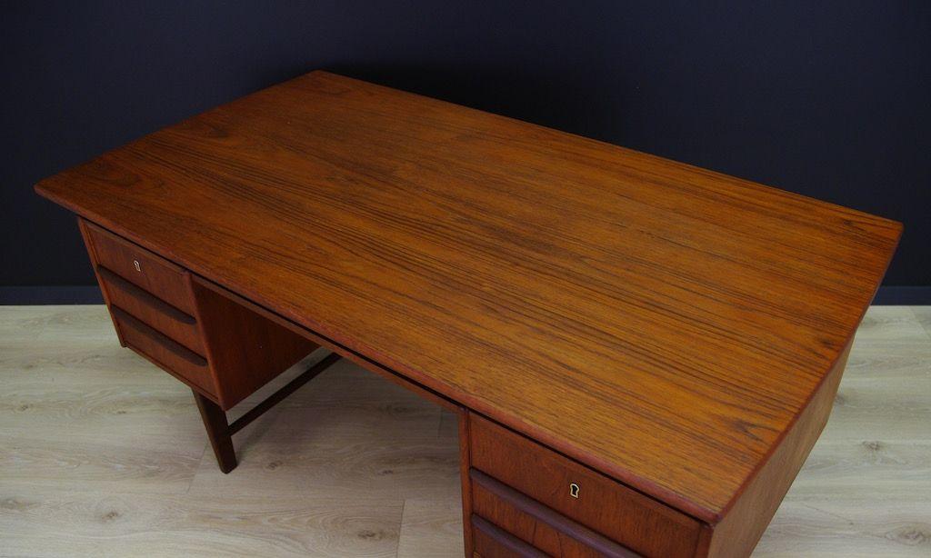 skandinavischer mid century teak furnier schreibtisch bei pamono kaufen. Black Bedroom Furniture Sets. Home Design Ideas