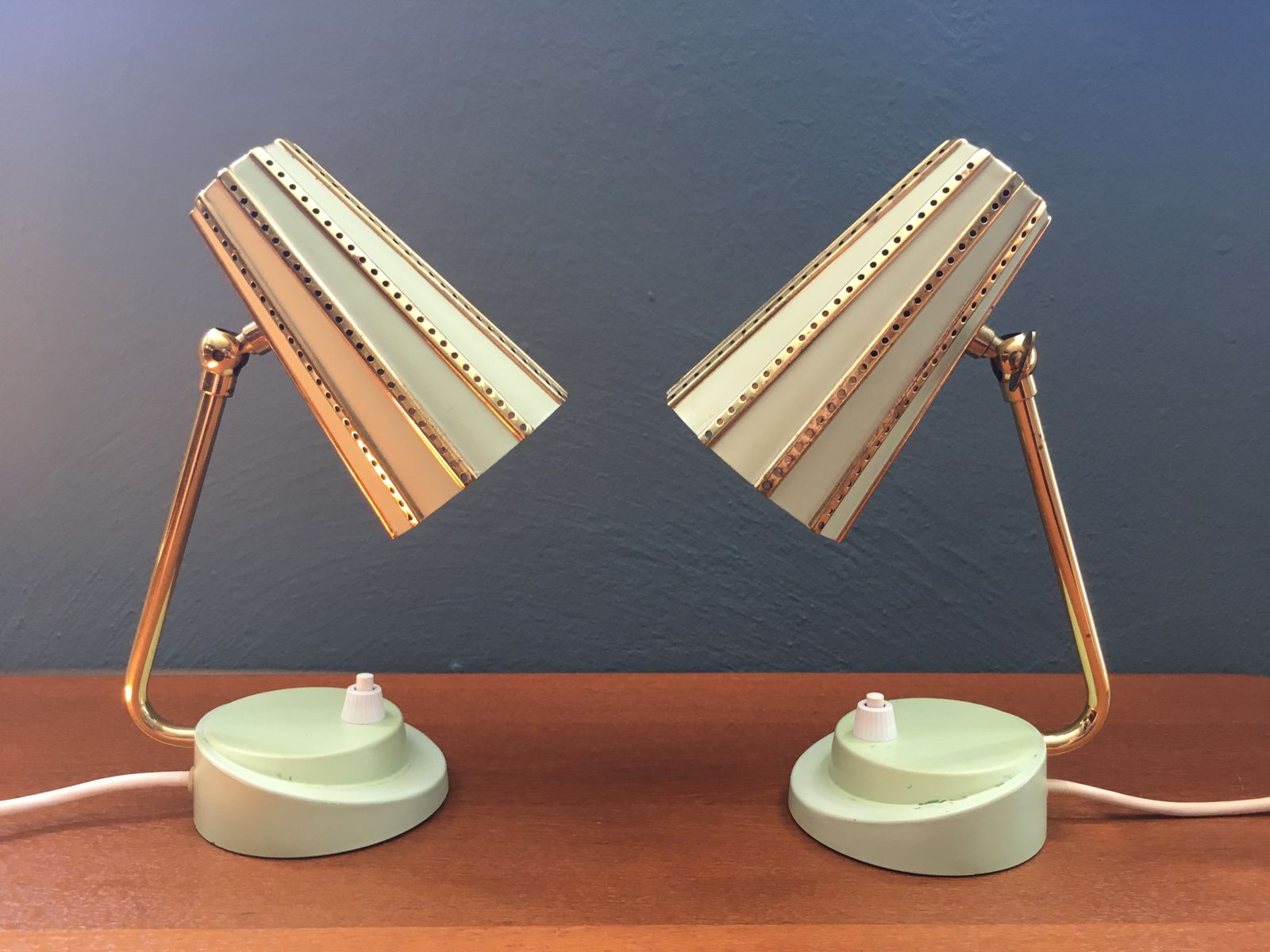 Small Mint Green Table Lamps With Perforated Shades, 1950s, Set Of 2