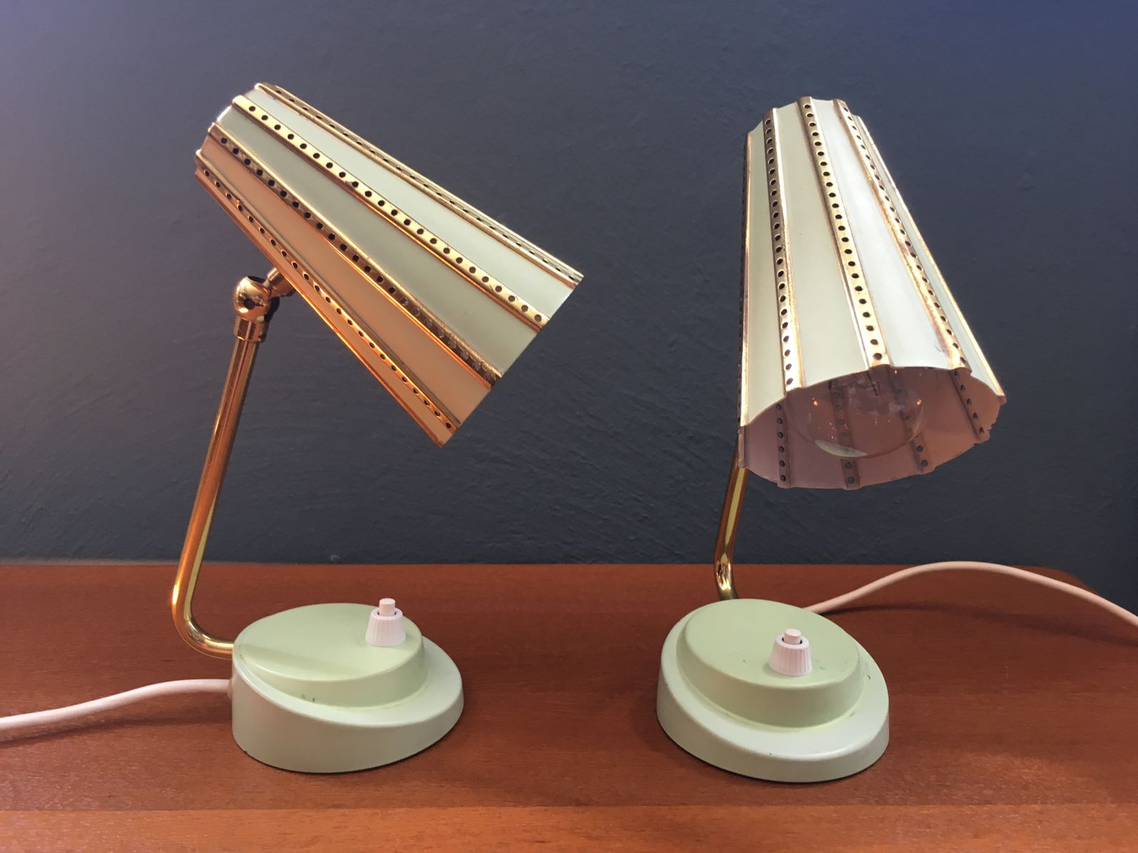 small mint green table lamps with perforated shades 1950s set of 2 for sale at pamono