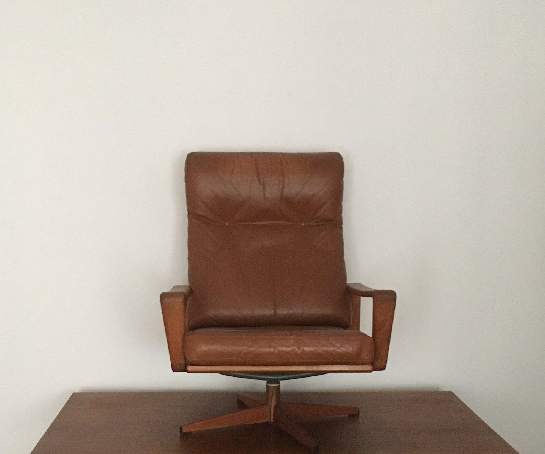 teak leder drehsessel von arne wahl iversen f r komfort. Black Bedroom Furniture Sets. Home Design Ideas
