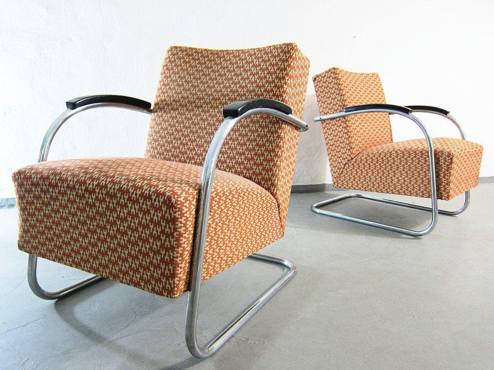 vintage bauhaus sessel mit rohrrahmen von kovona 2er set bei pamono kaufen. Black Bedroom Furniture Sets. Home Design Ideas