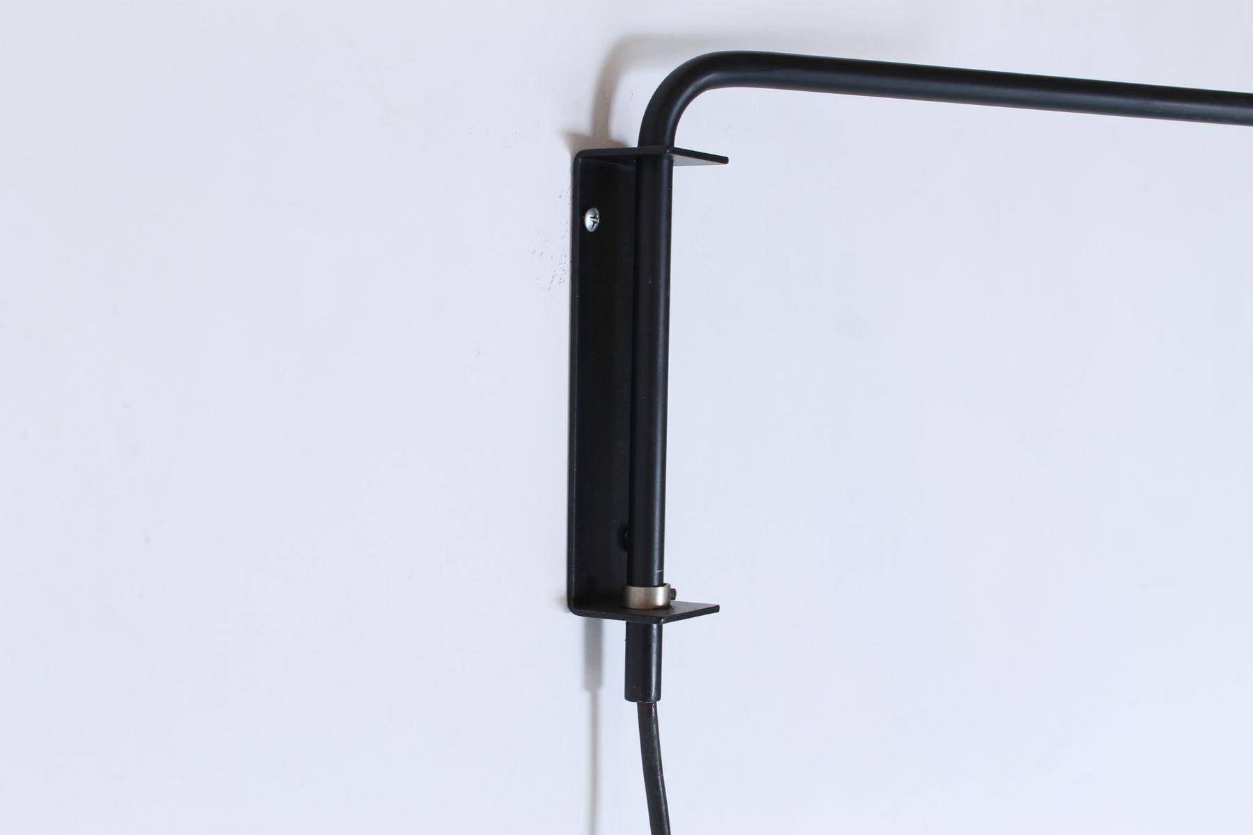Vintage Petrol Blue and Black Articulating Wall Lights by J. J. M. Hoogervorst for Anvia, Set of ...