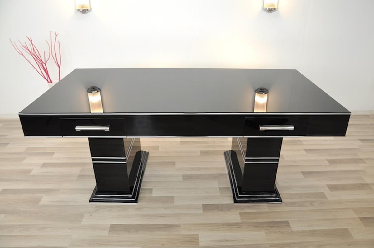 schwarzer vintage schreibtisch in hochglanz bei pamono kaufen. Black Bedroom Furniture Sets. Home Design Ideas