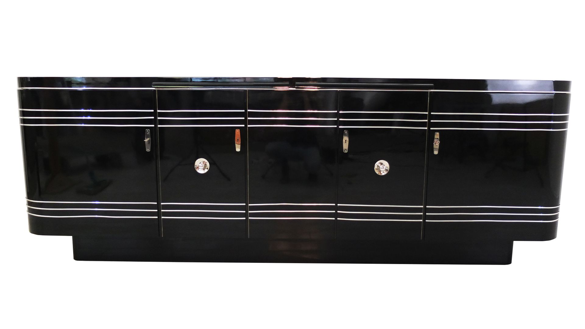 large art deco sideboard with red interior for sale at pamono. Black Bedroom Furniture Sets. Home Design Ideas