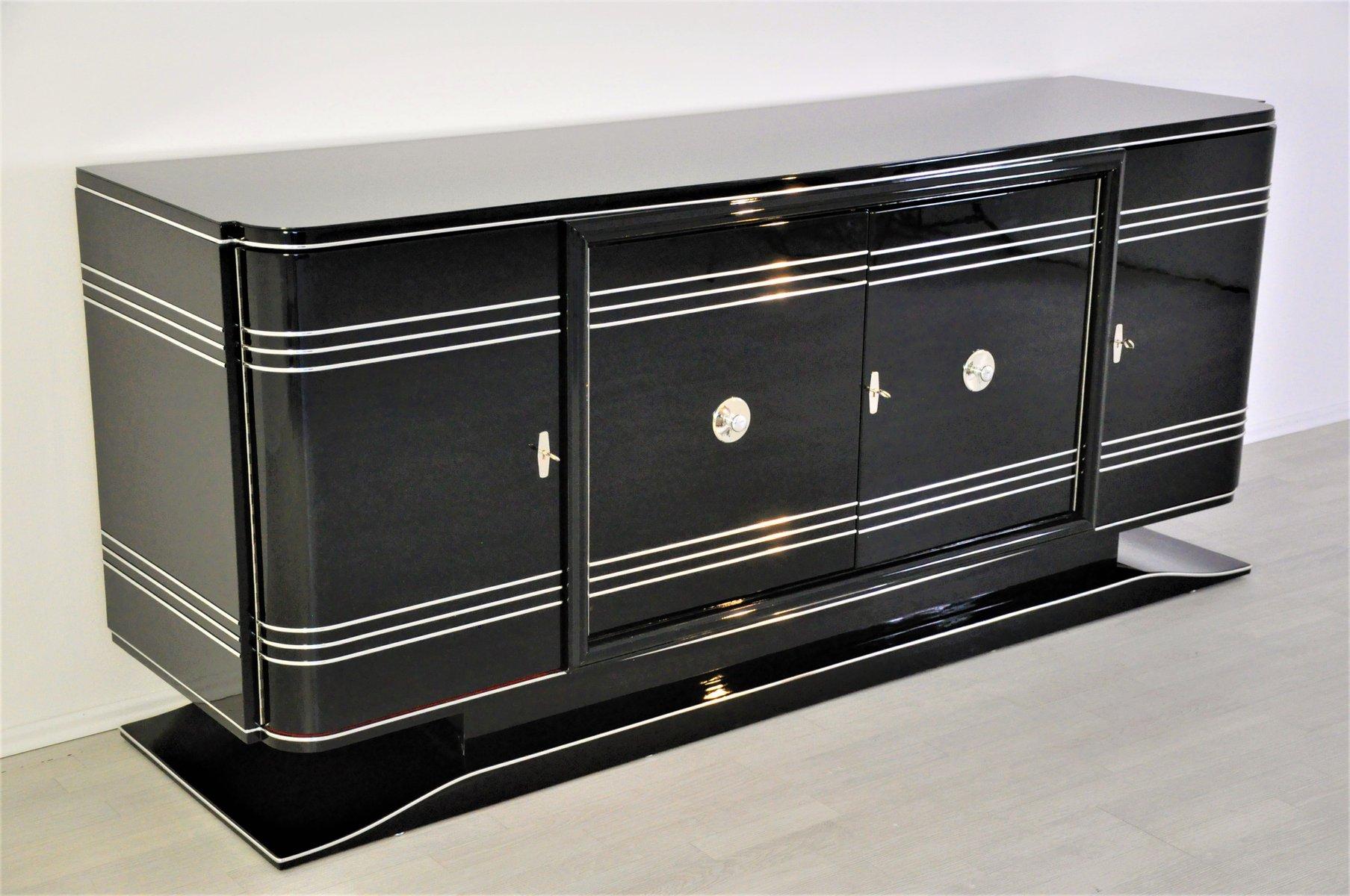 gro es art deco sideboard mit rotem barfach bei pamono kaufen. Black Bedroom Furniture Sets. Home Design Ideas