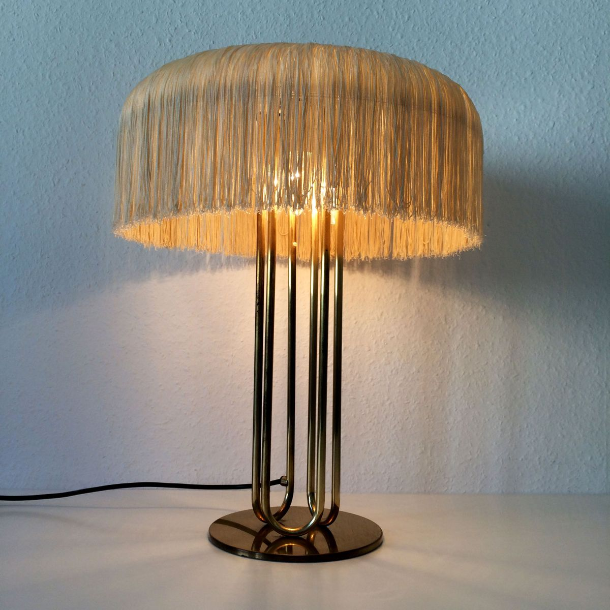 Large Mid Century Brass Table Lamps Set Of 2 For Sale At