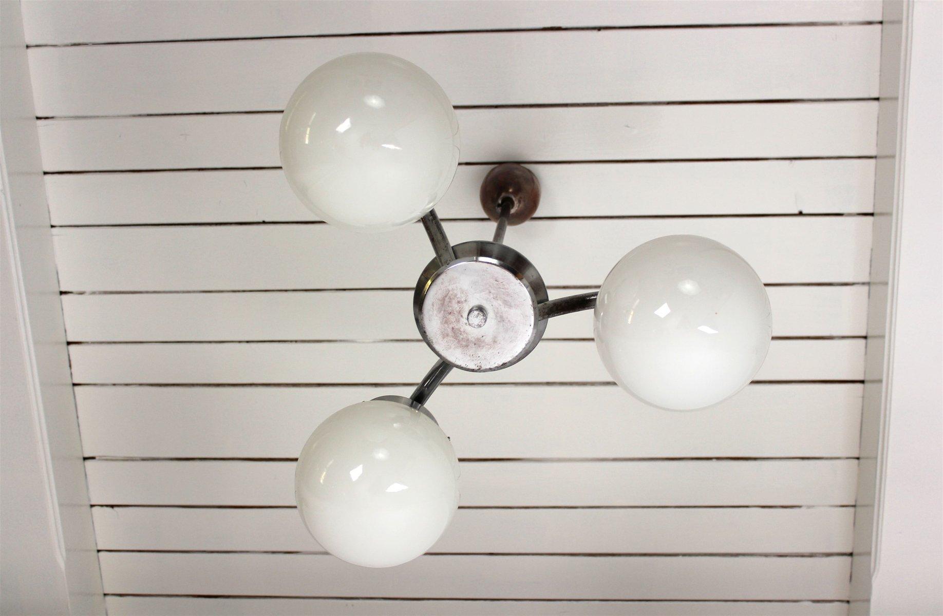 tschechische verchromte art deco metall glas h ngelampe von napako bei pamono kaufen. Black Bedroom Furniture Sets. Home Design Ideas