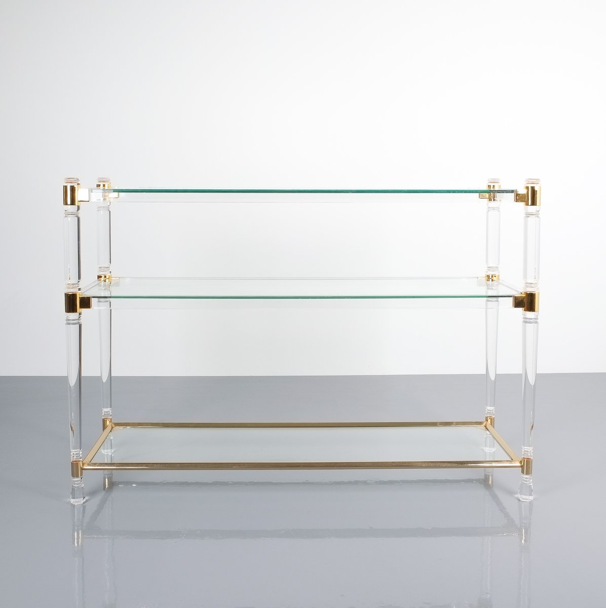 Console Table in Lucite Glass Gold Brass by Romeo Rega 1970 for