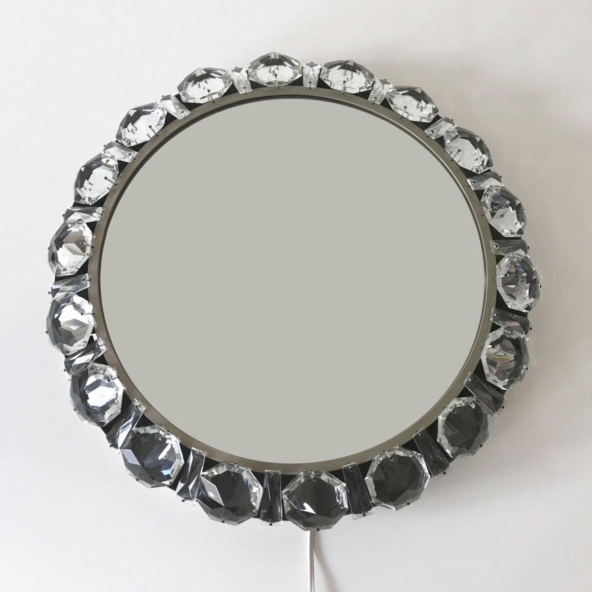 Mid Century Modern Illuminated Crystal Wall Mirror. Mid Century Modern Illuminated Crystal Wall Mirror for sale at Pamono