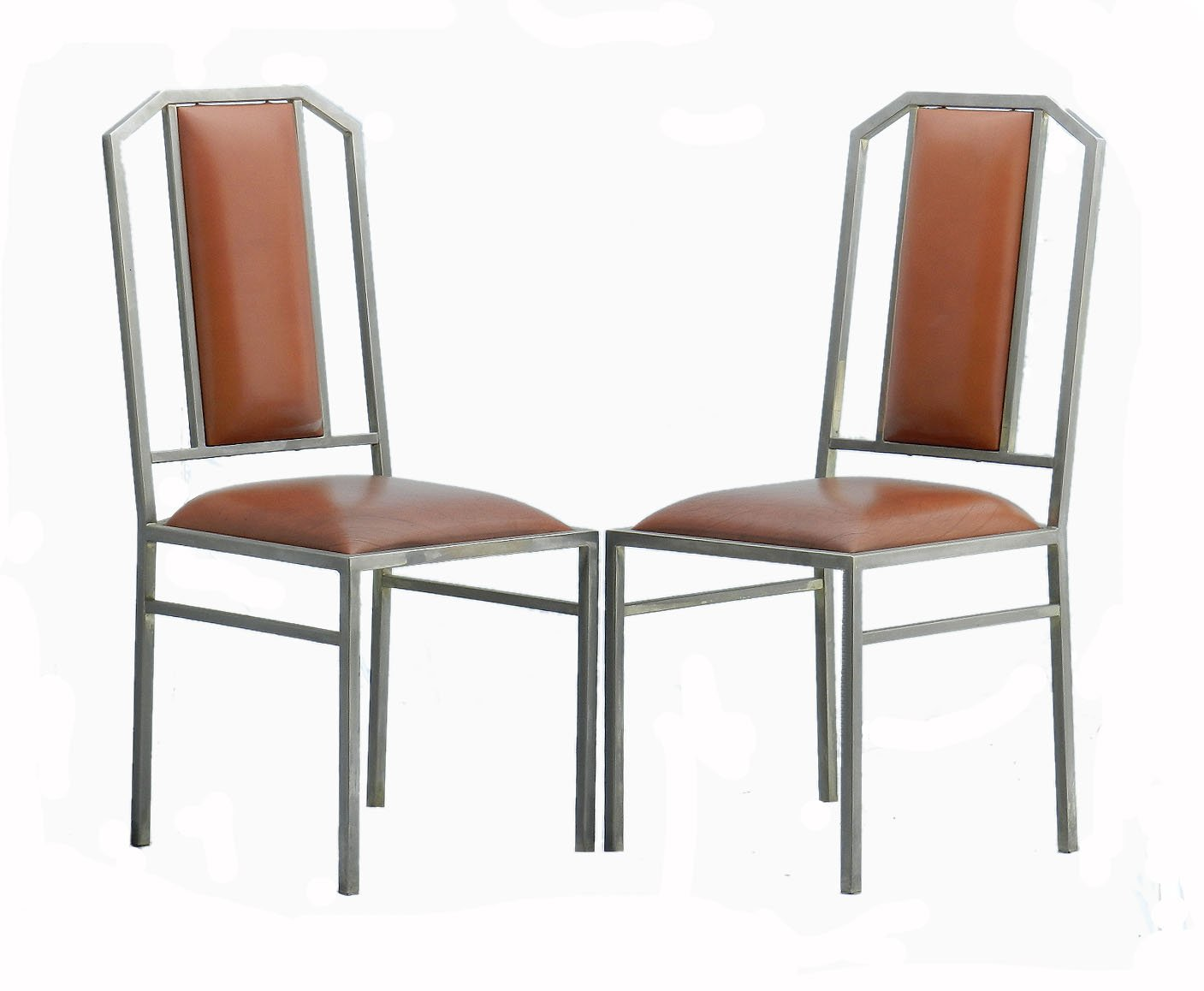 Vintage Dining Chairs In Leather U0026 Brushed Metal From Maison Jansen, Set Of  4