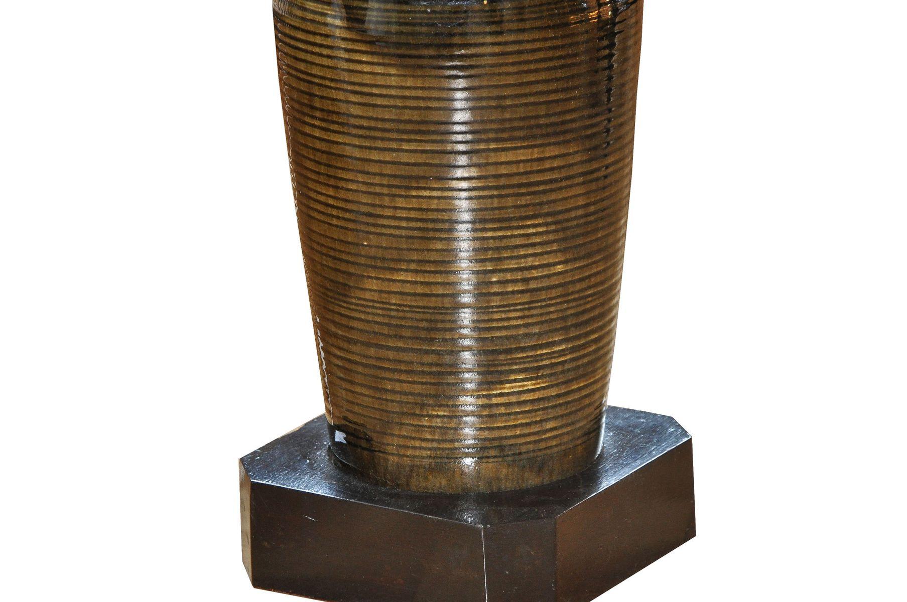 gro es mid century keramik tischlampe mit celadon glasur. Black Bedroom Furniture Sets. Home Design Ideas