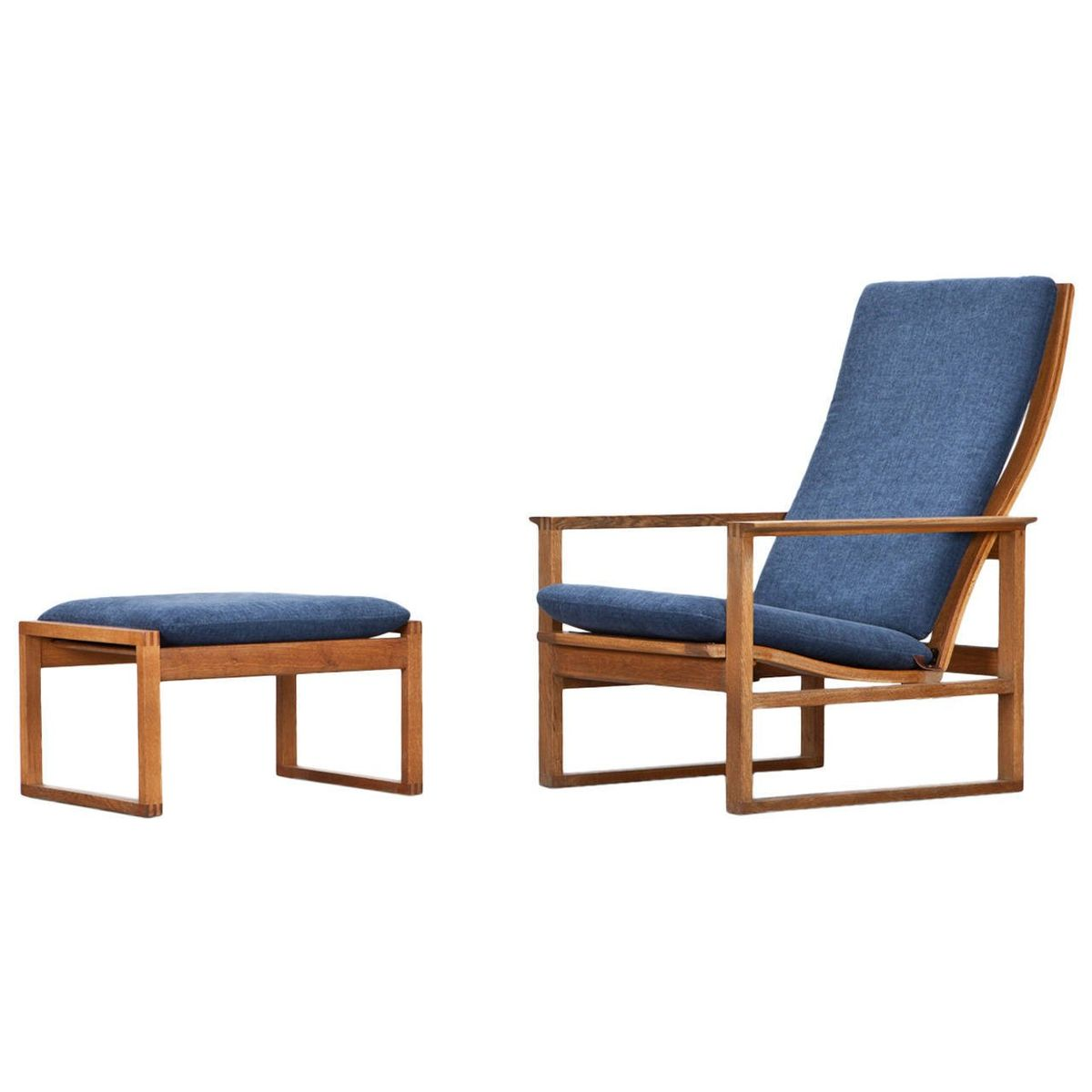 lounge chair with ottoman by børge mogensen for fredericia 1950s