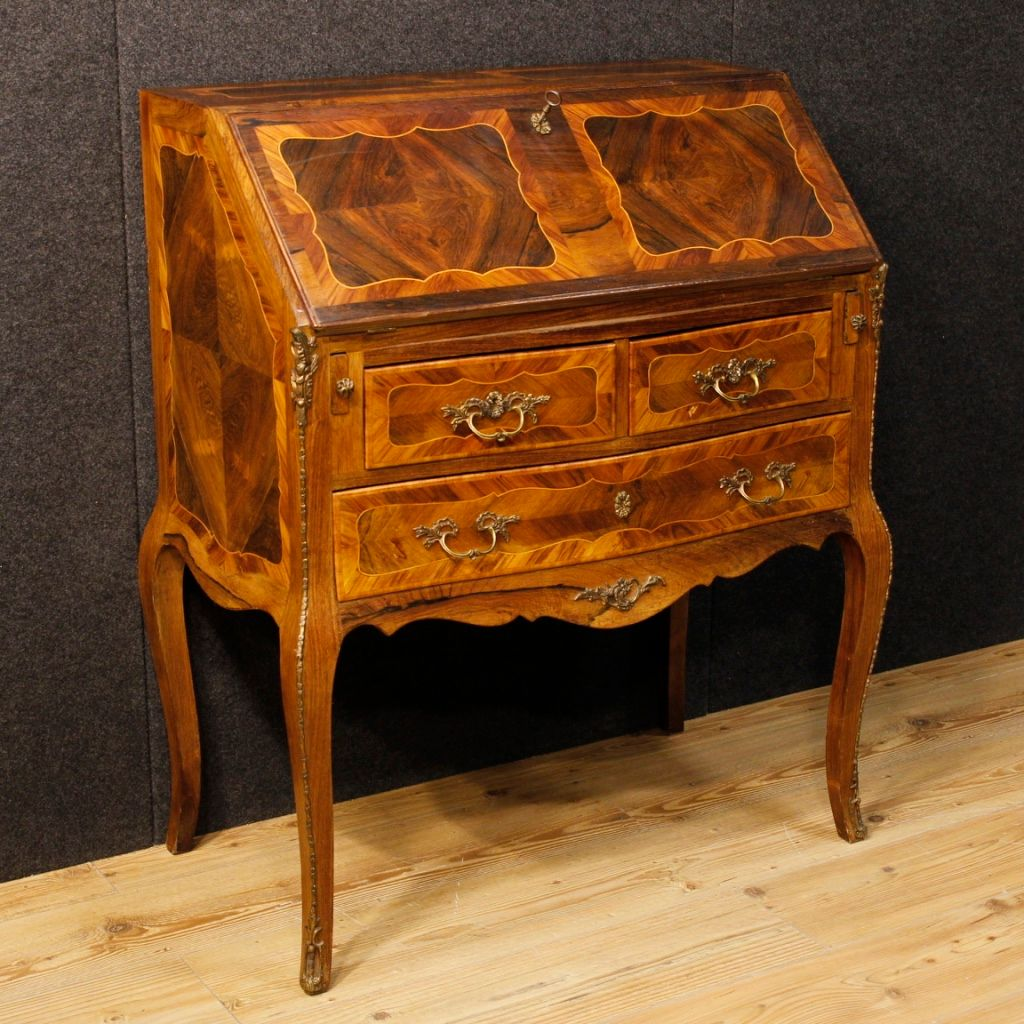 Mid century french inlaid bureau decorated with bronze for for Bureau french
