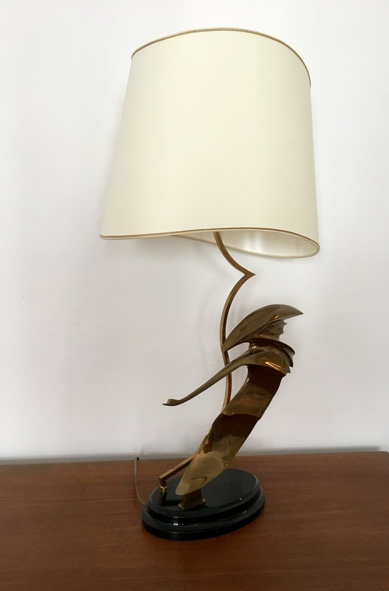 French Art Deco Brass Table Lamp with Swan Sculpture, 1930s for ...