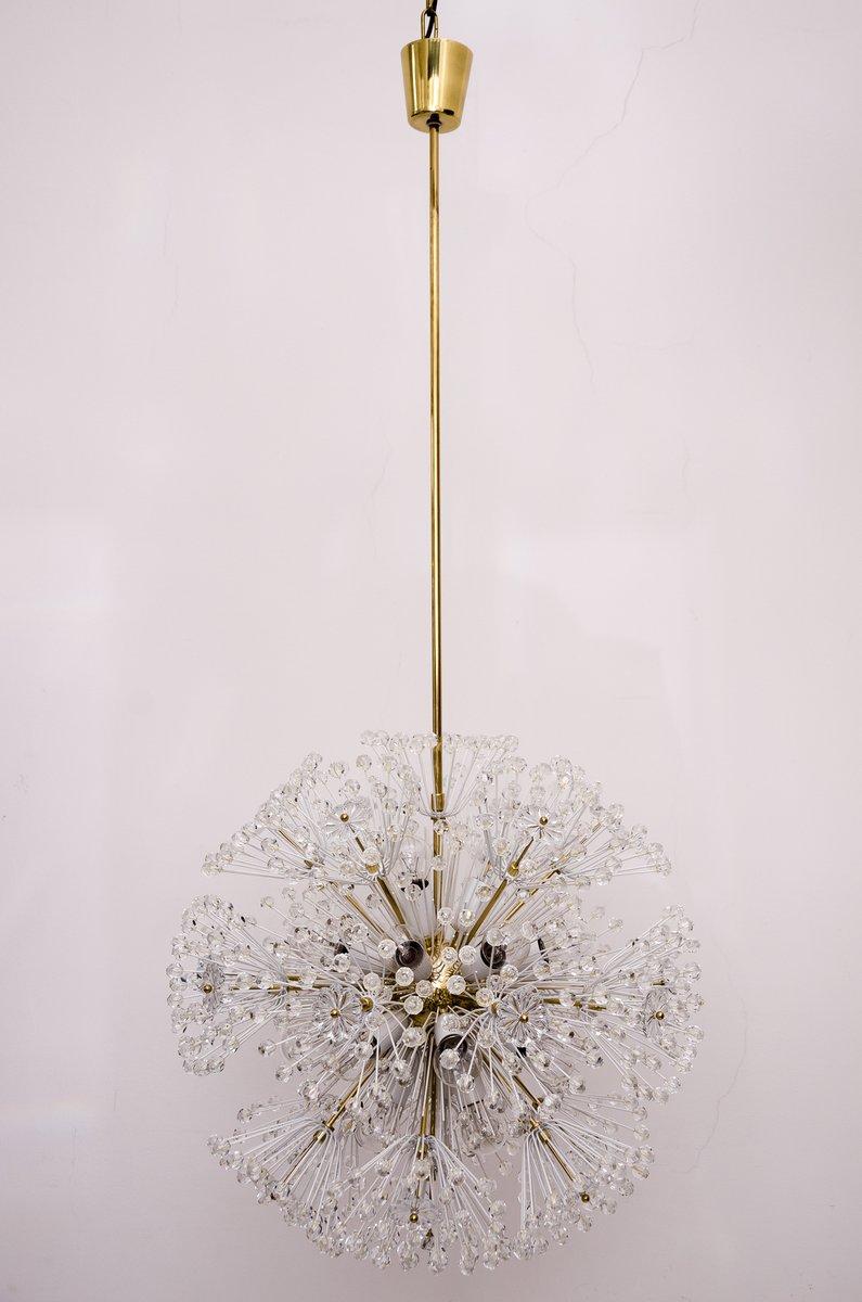 Large vintage brass glass sputnik chandelier by emil for Sputnik chandelier