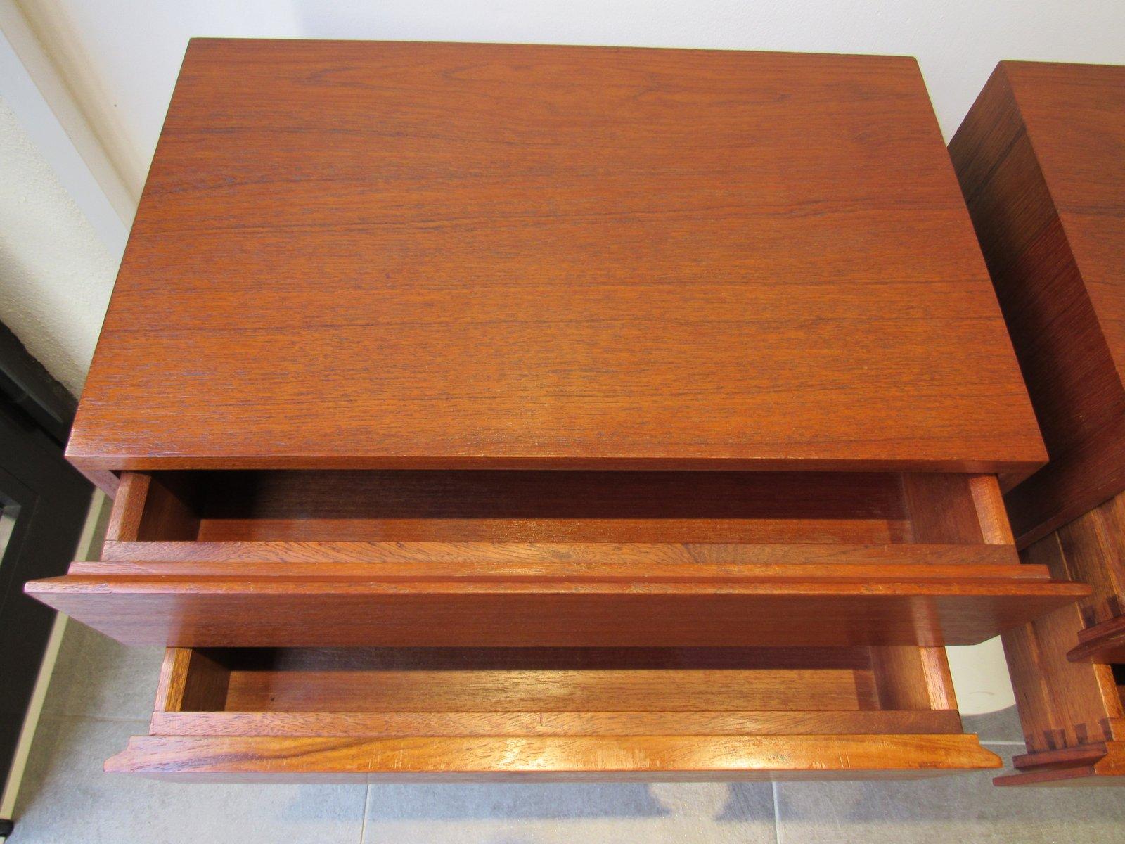 Teak Veneer Wall Mounted Bedside Tables 1960s Set Of 2