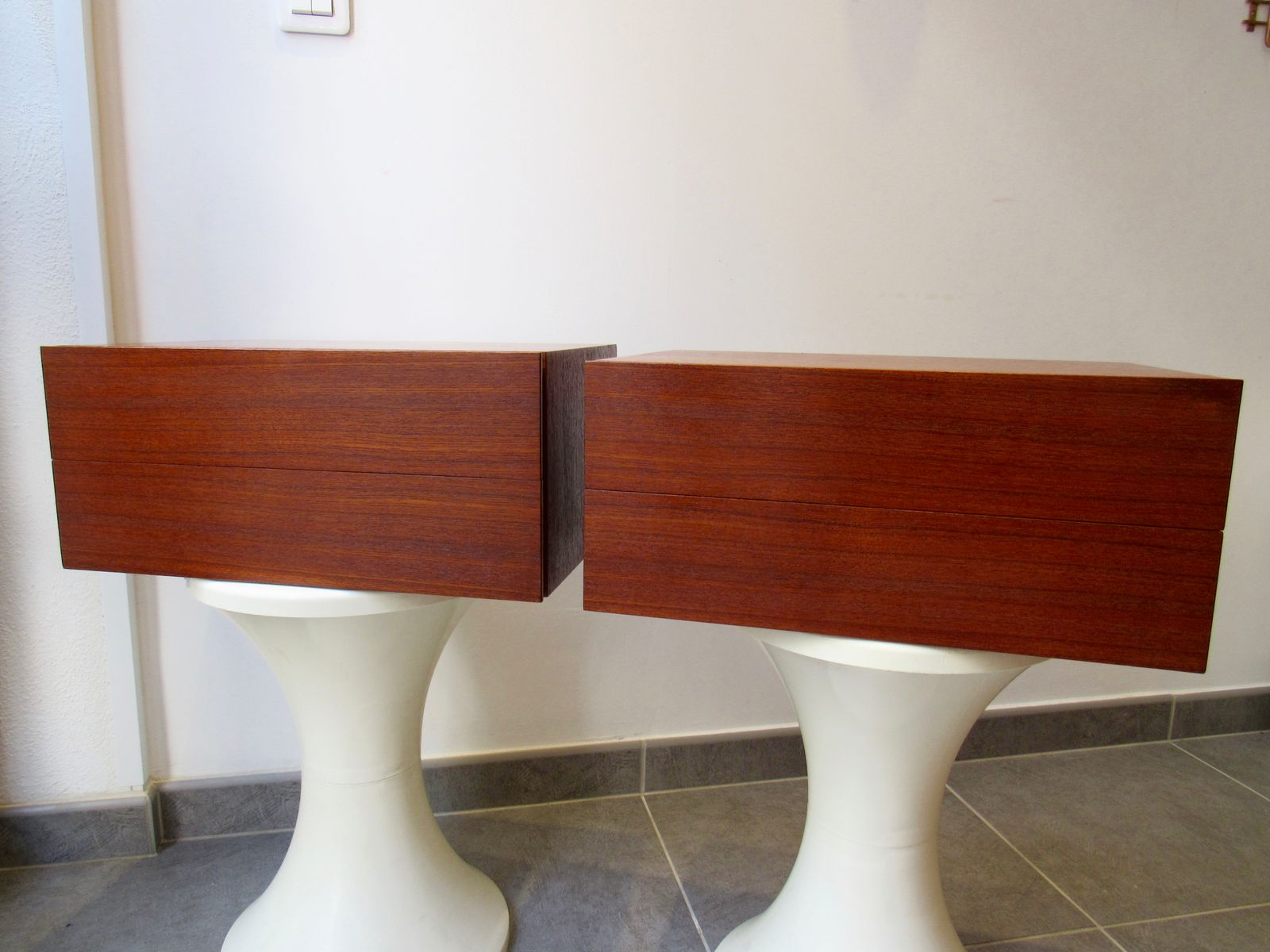 Wall Mounted Bedside Tables Teak Veneer Wall Mounted Bedside Tables 1960S Set Of 2 For Sale