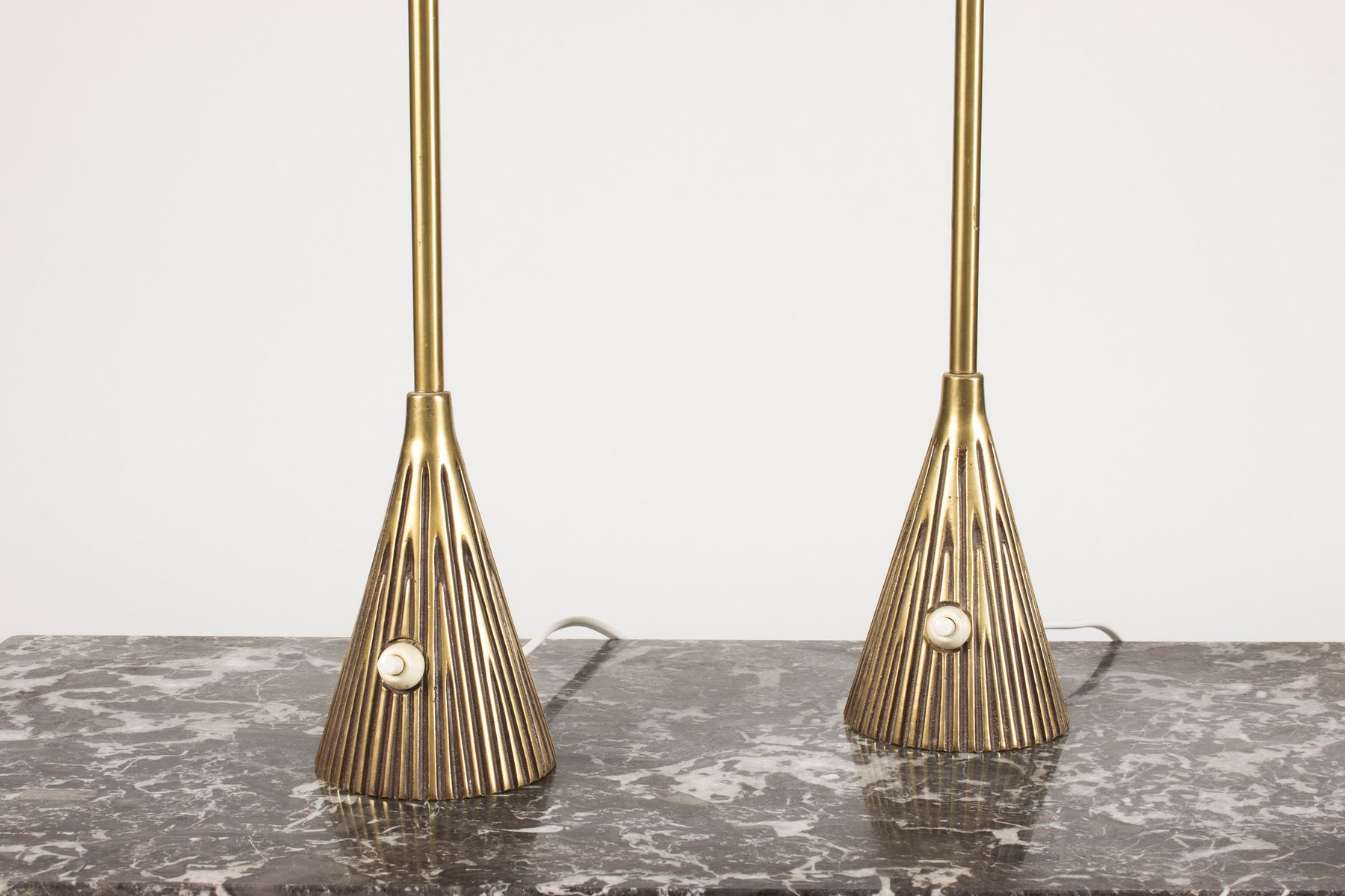 MidCentury Brass Table Lamps by Sonja Katzin for Asea Set of 2