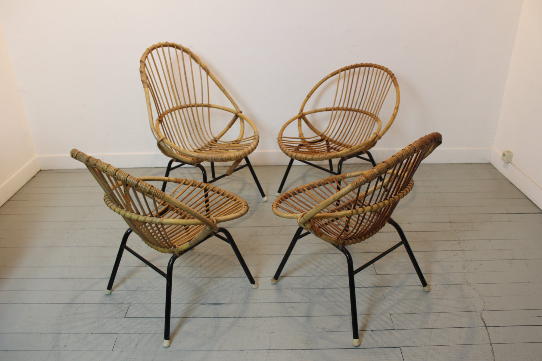 Vintage French Bamboo & Rattan Chairs Set of 4 for sale at Pamono