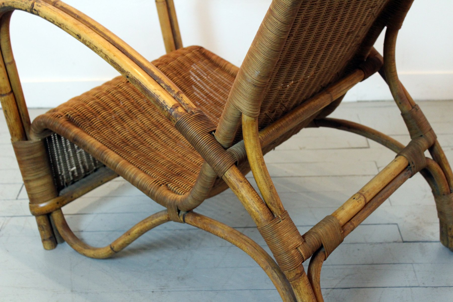 vintage bamboo rattan lounge chair for sale at pamono. Black Bedroom Furniture Sets. Home Design Ideas