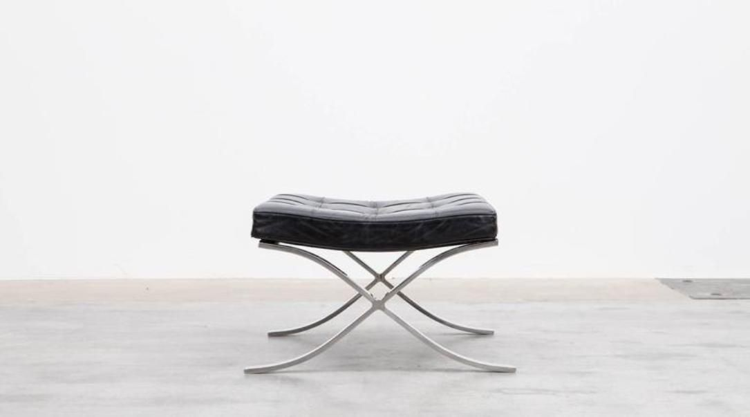 black leather ottoman by ludwig mies van der rohe for knoll 1920s for sale at pamono