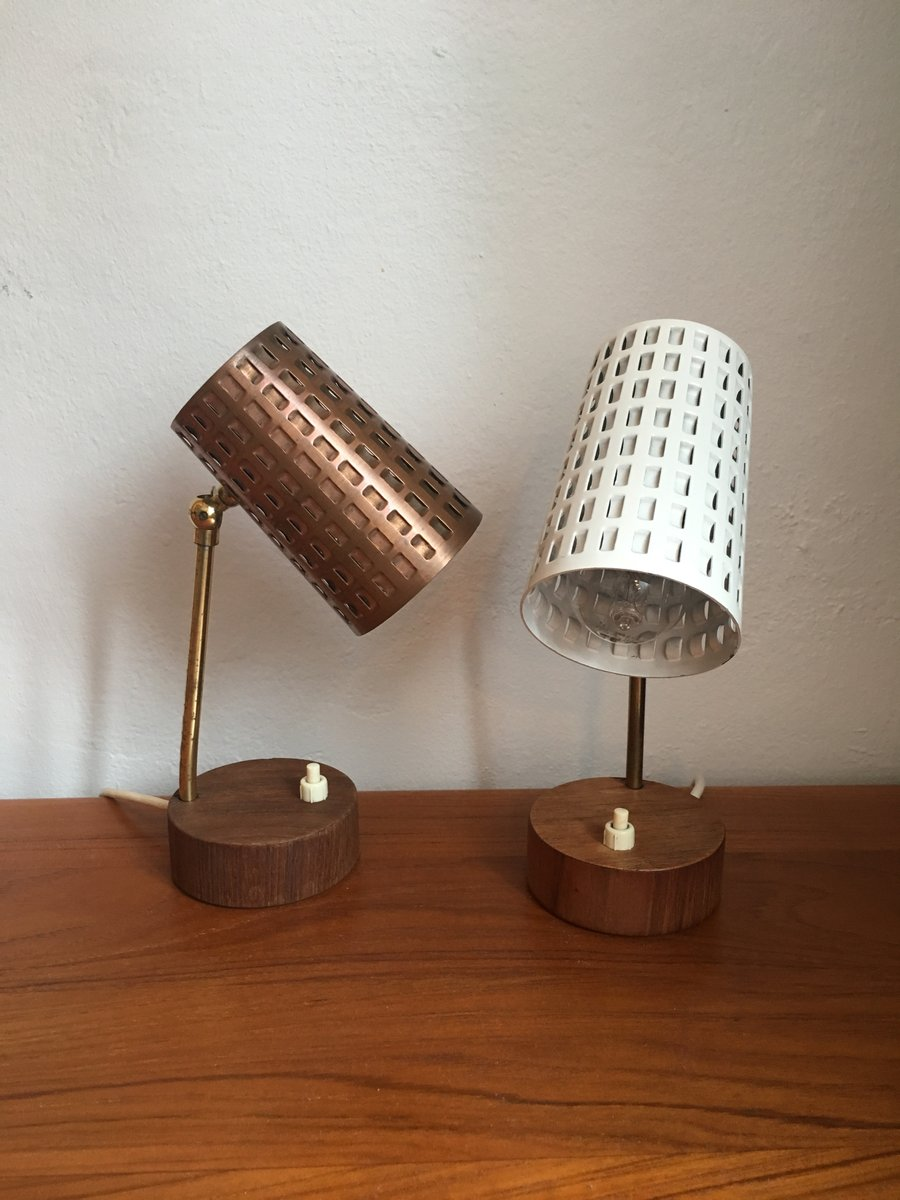 Small table lamps with perforated lampshade and teak foot 1950s small table lamps with perforated lampshade and teak foot 1950s set of 2 for sale at pamono mozeypictures Image collections