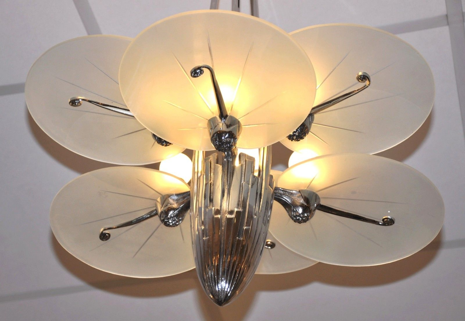 Art deco silver plated bronze chandelier with 6 plates 1930s for price per piece arubaitofo Image collections
