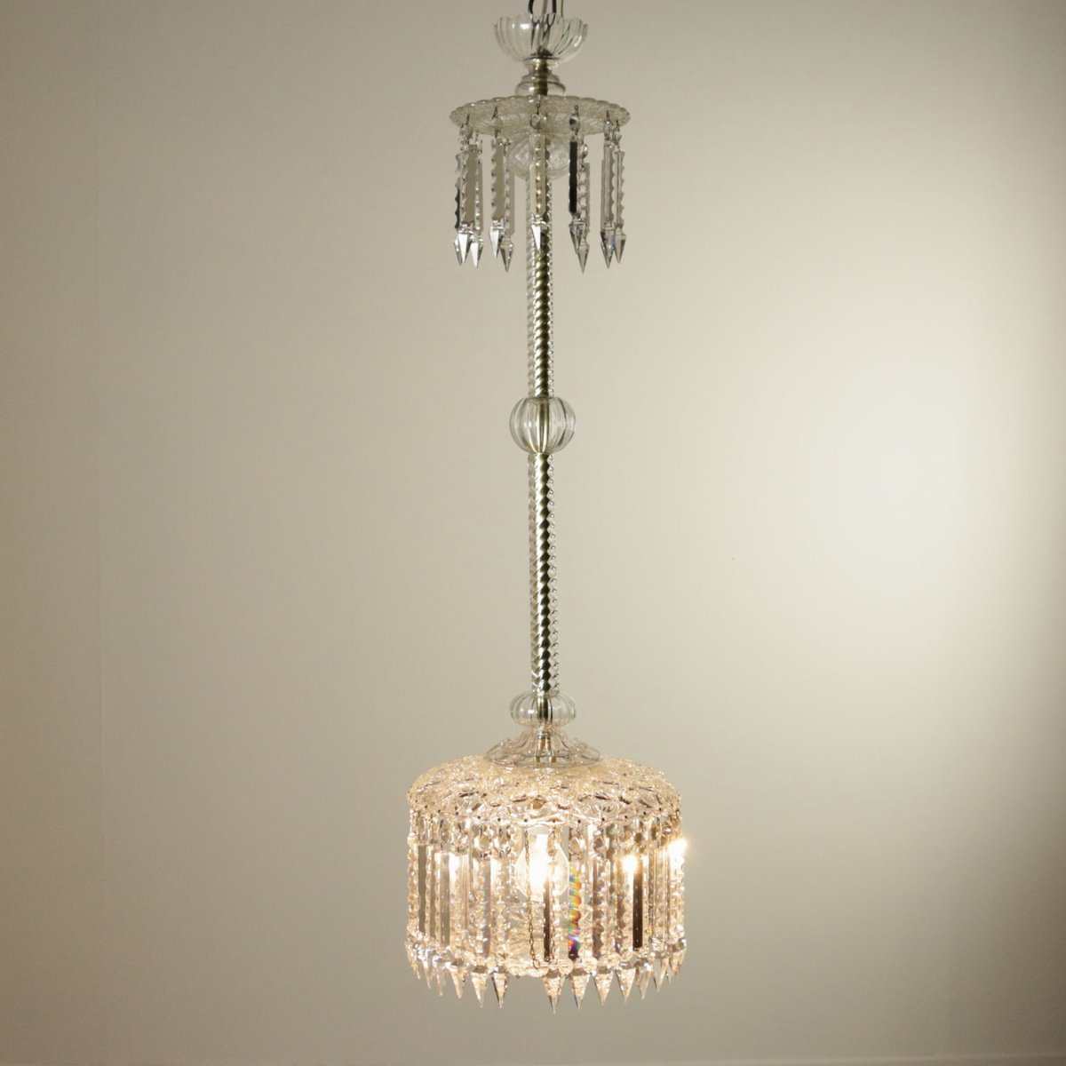 italian glass ceiling l with pendants 1960s