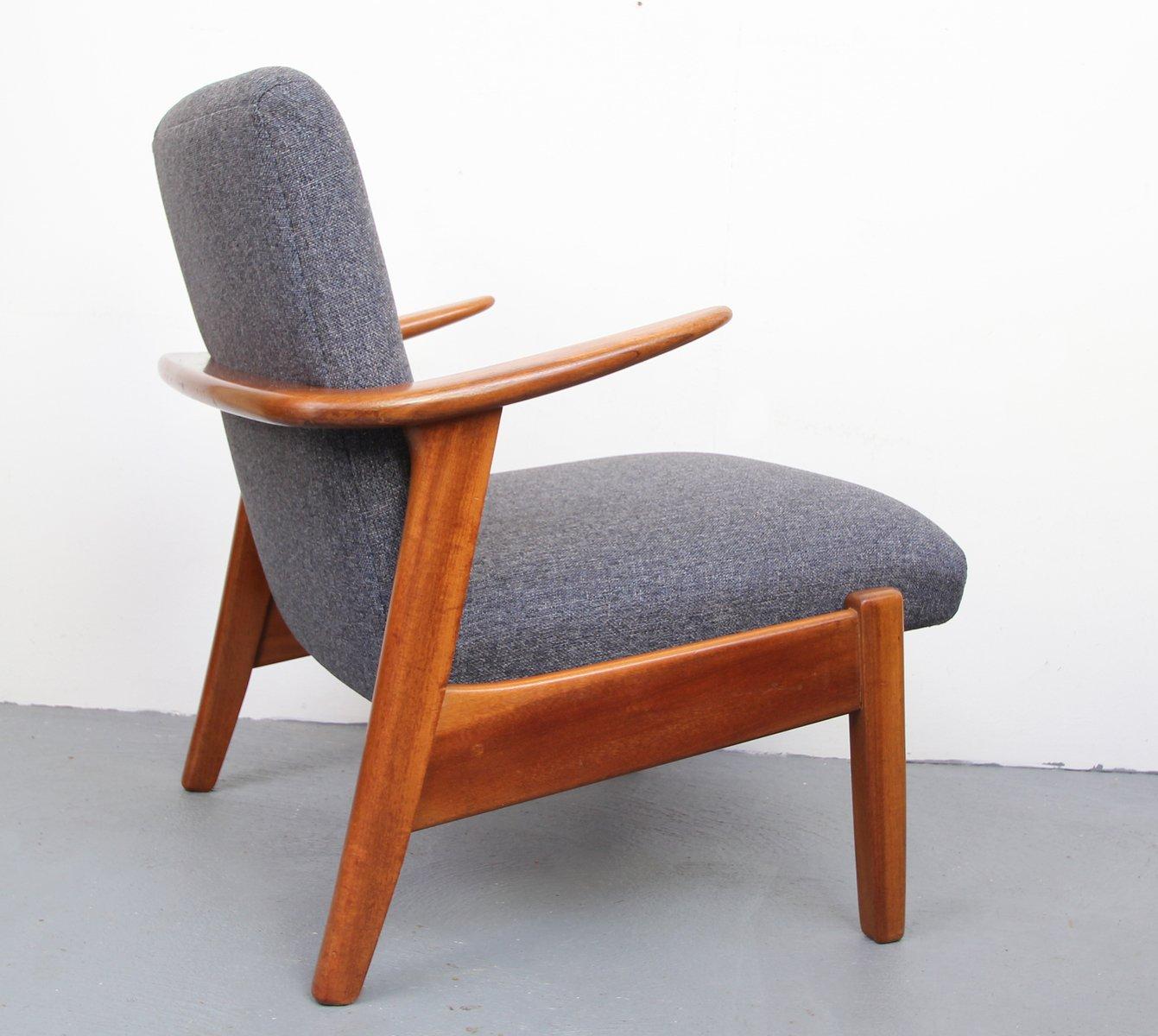 vintage teak sessel in blaugrau 1950er bei pamono kaufen. Black Bedroom Furniture Sets. Home Design Ideas