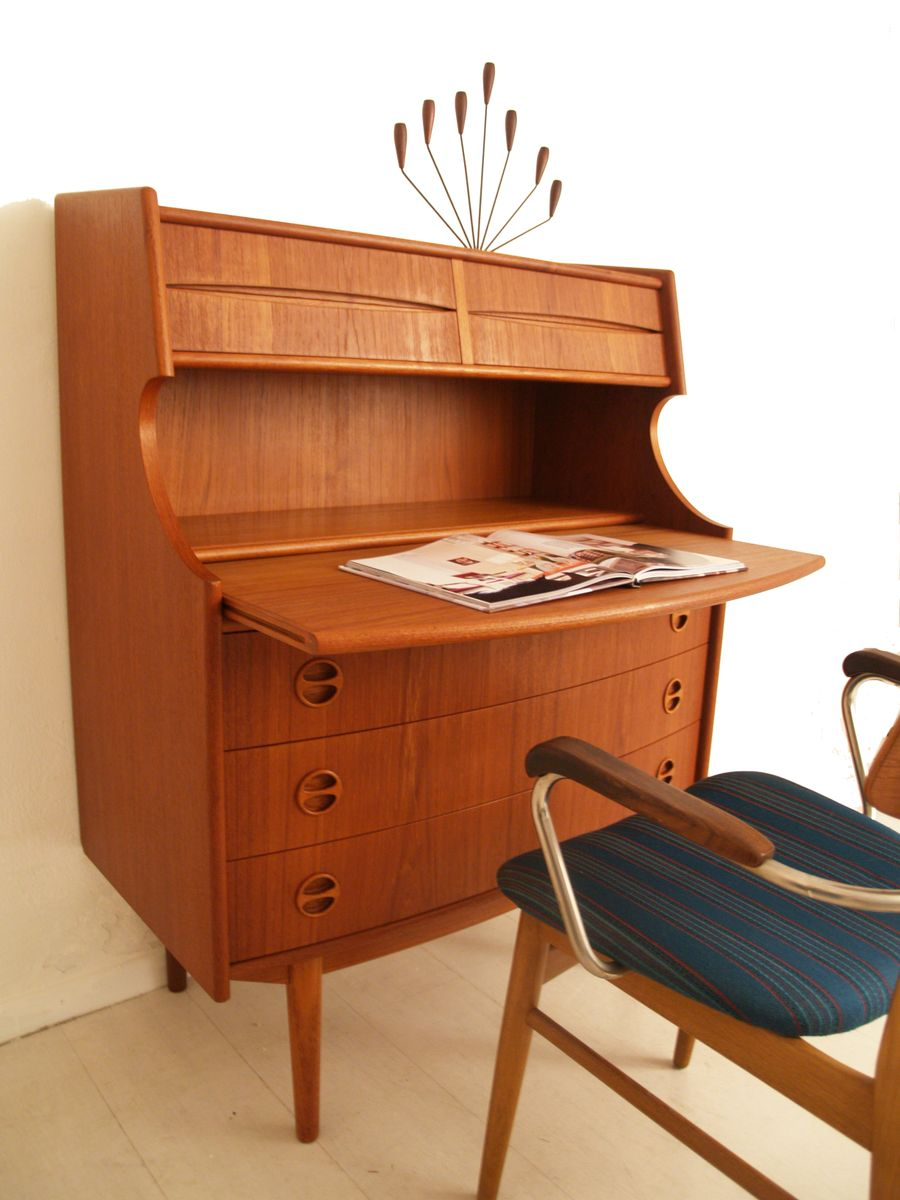 vintage danish secretary by gunnar falsig for m belfabrik holstebro for sale at pamono. Black Bedroom Furniture Sets. Home Design Ideas