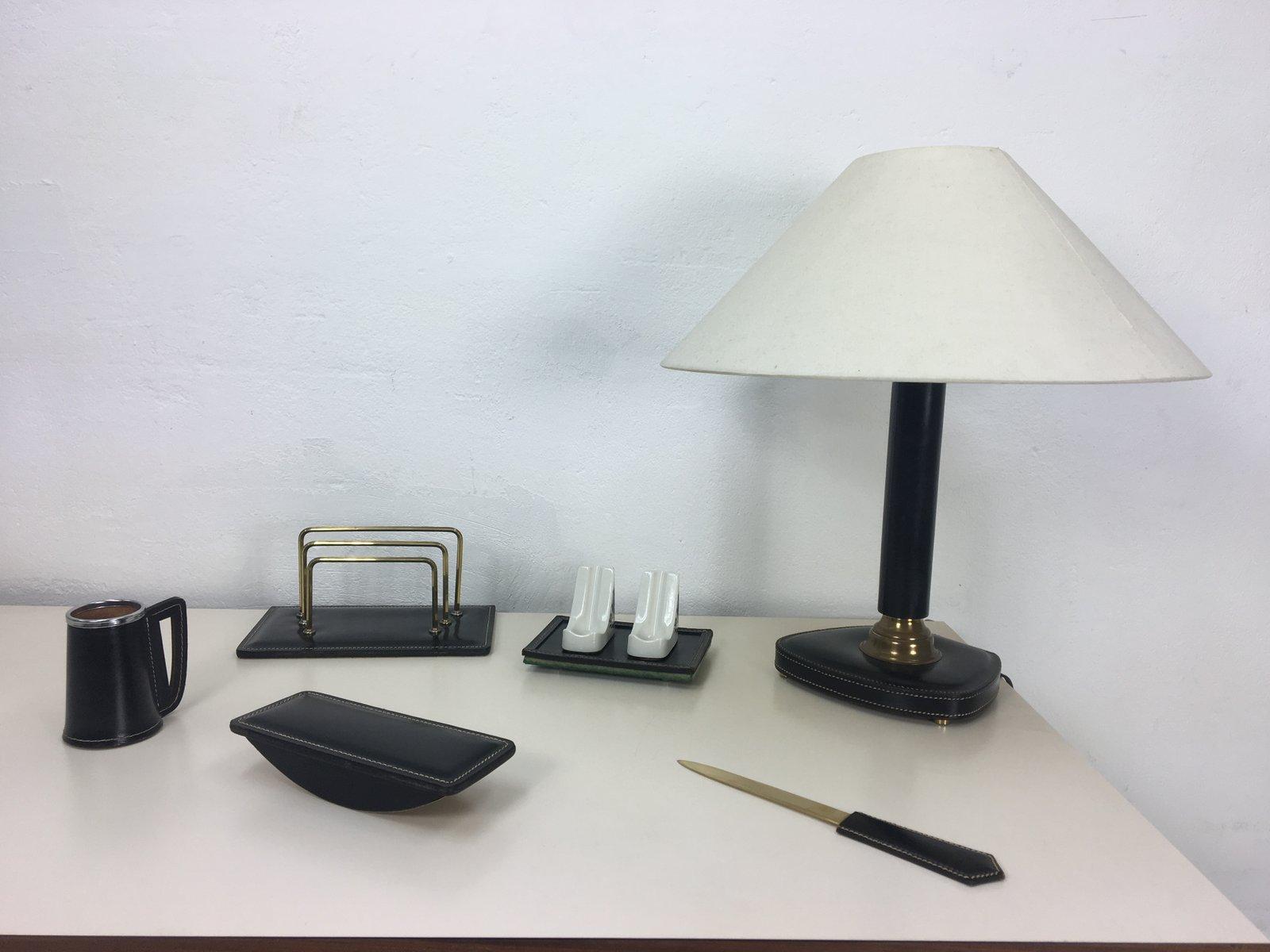 vintage schreibtisch set aus gen htem leder bei pamono kaufen. Black Bedroom Furniture Sets. Home Design Ideas