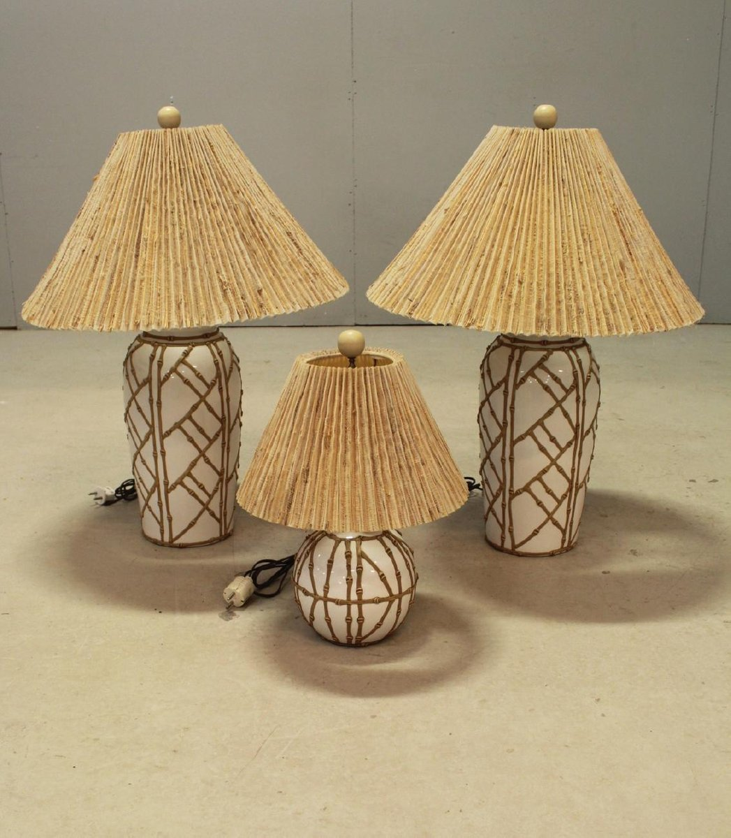 Vintage hollywood regency chinoiserie faux bamboo table lamps set vintage hollywood regency chinoiserie faux bamboo table lamps set of 3 aloadofball Images