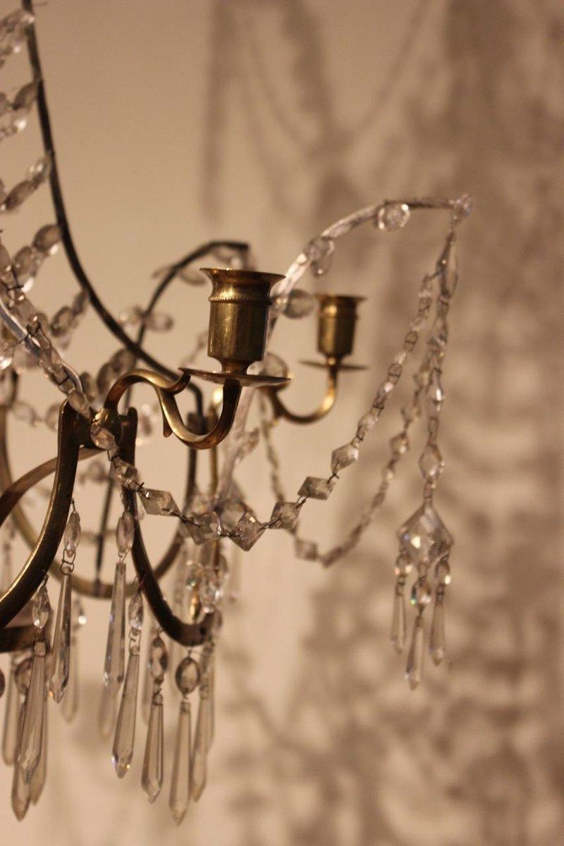 antiker kronleuchter aus glas mit sechs leuchten bei pamono kaufen. Black Bedroom Furniture Sets. Home Design Ideas