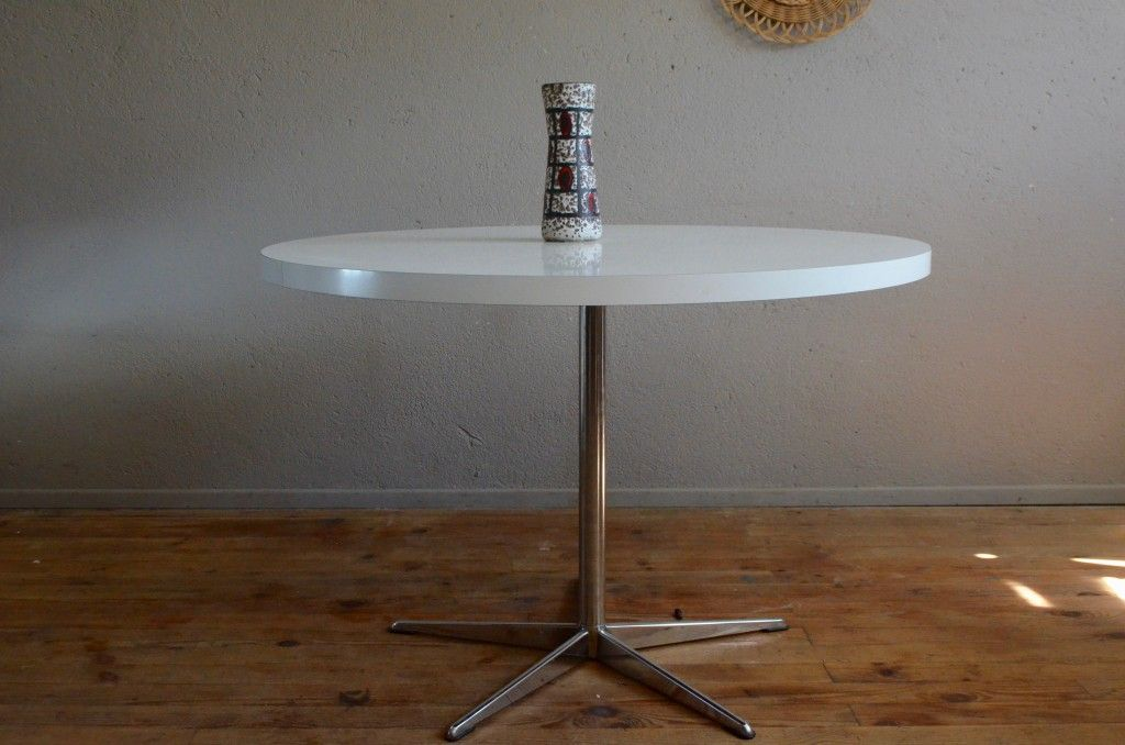 Vintage Round Table With Star Base, 1970s