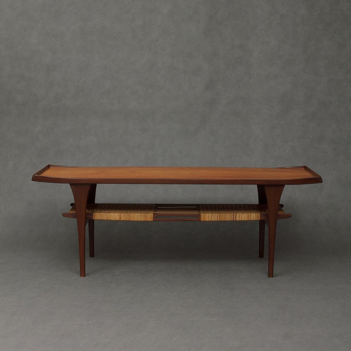 Teak Coffee Table With Cane Shelf 1960s For Sale At Pamono