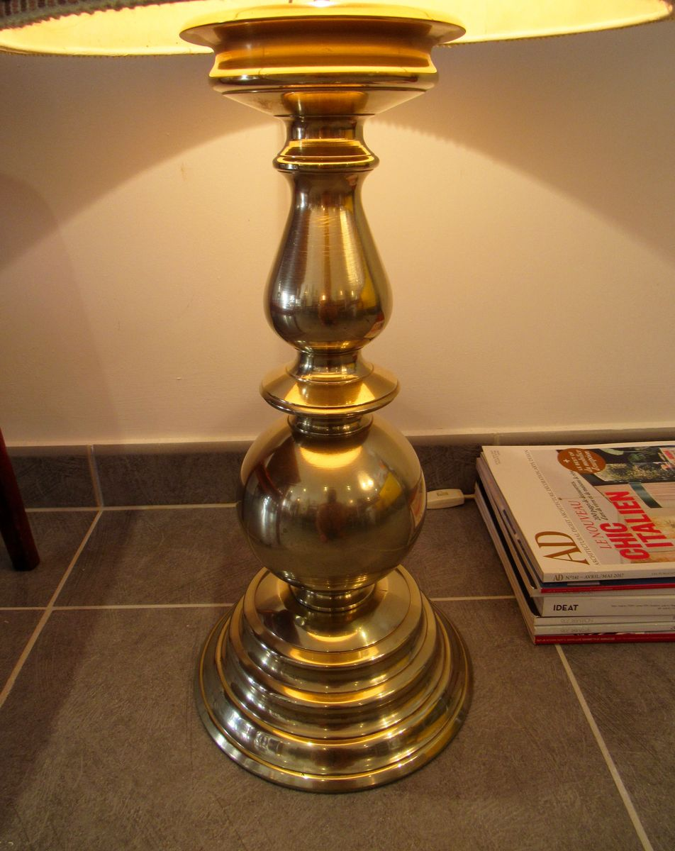 Large brass floor lamp 1970s for sale at pamono for 1970s floor lamps