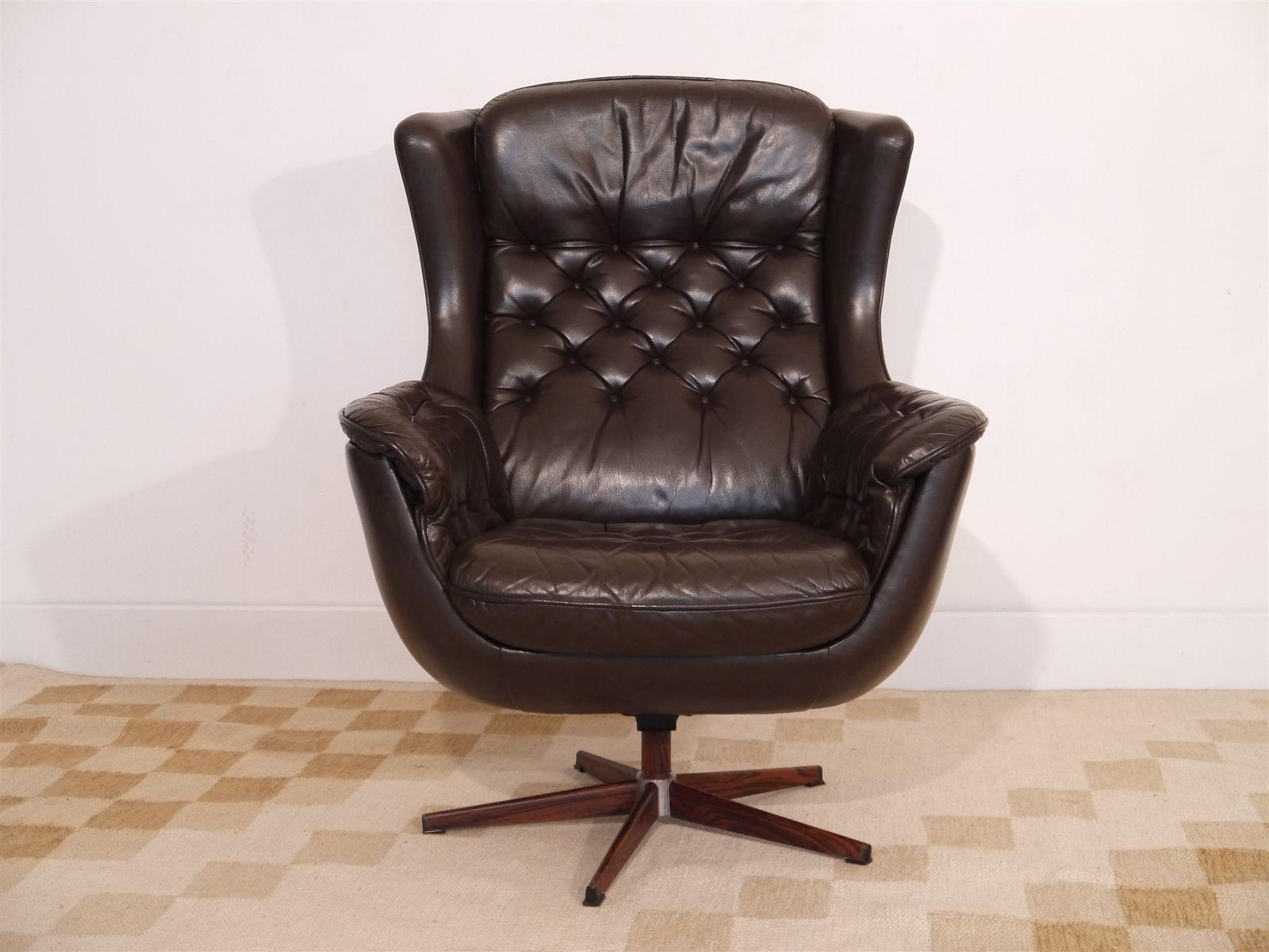 Vintage leather swivel chair - Vintage Danish Leather Swivel Armchair