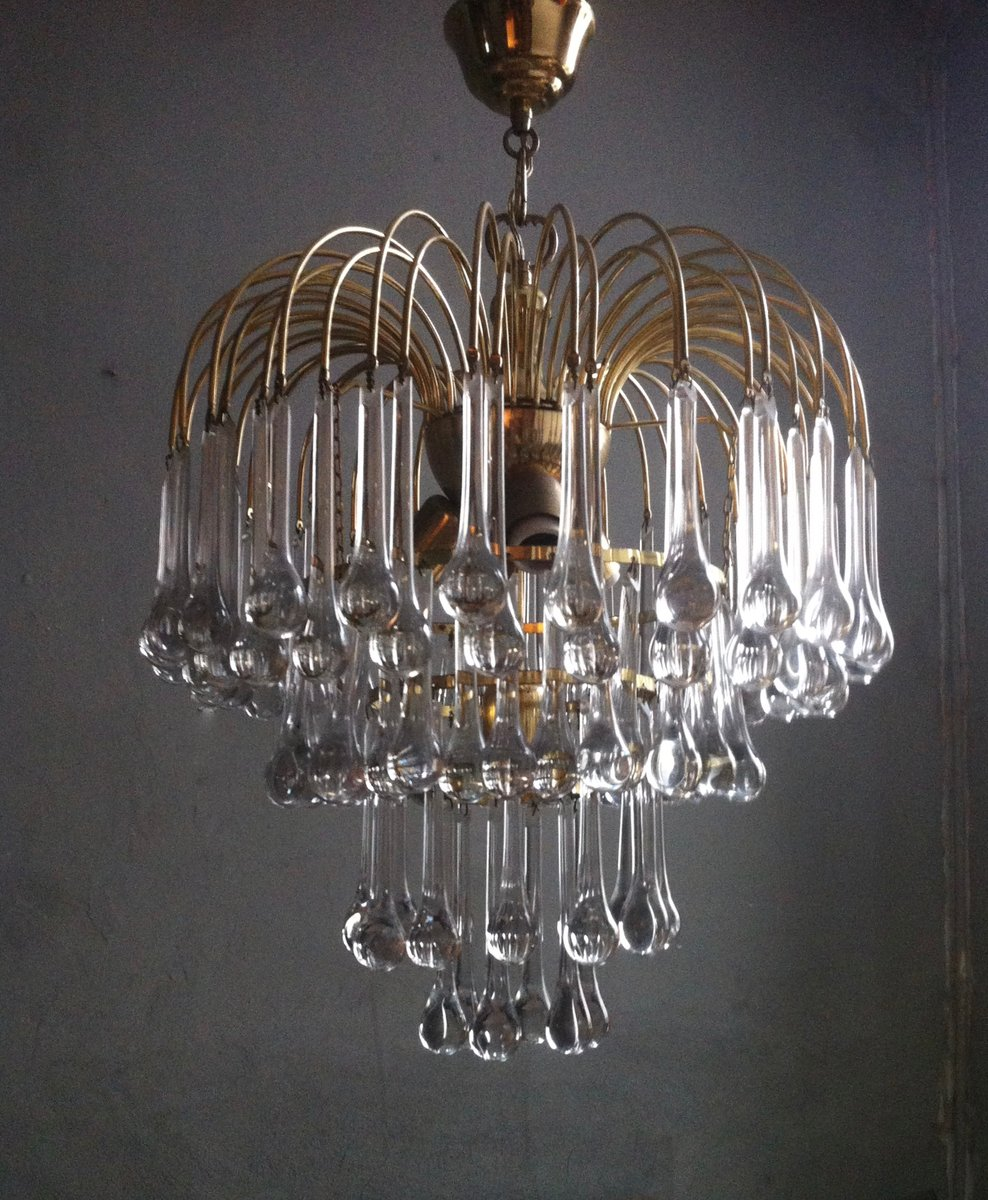 Murano Glass Chandelier Large: Large Murano Glass Drops Chandelier By Paolo Venini For
