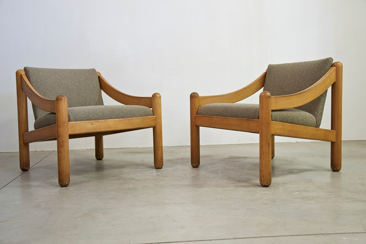 Good Vintage Armchairs By Vico Magistretti For Cassina, Set Of 2