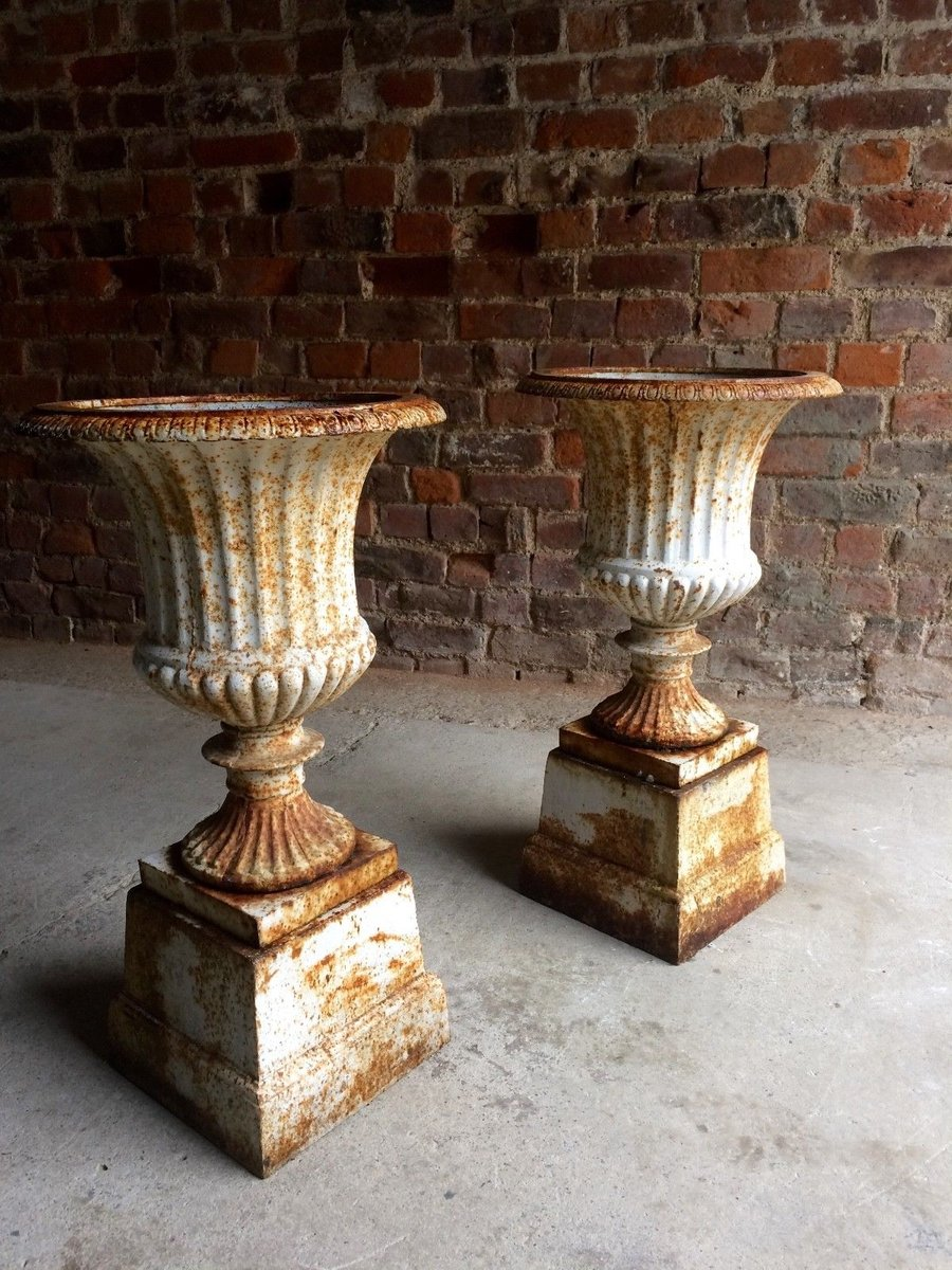 Awesome Cast Iron Garden Urns, 1900s, Set Of 2
