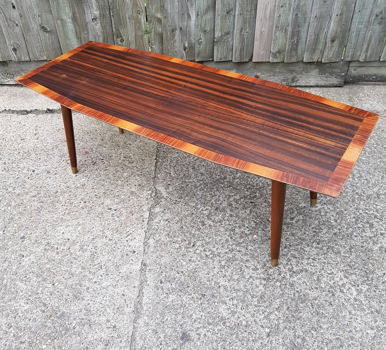 Italian Mid-Century Walnut & Rosewood Coffee Table For