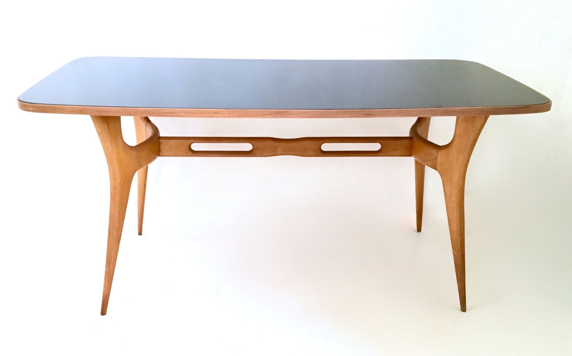 Italian Maple Dining Table with Glass Top 1950s for sale at Pamono
