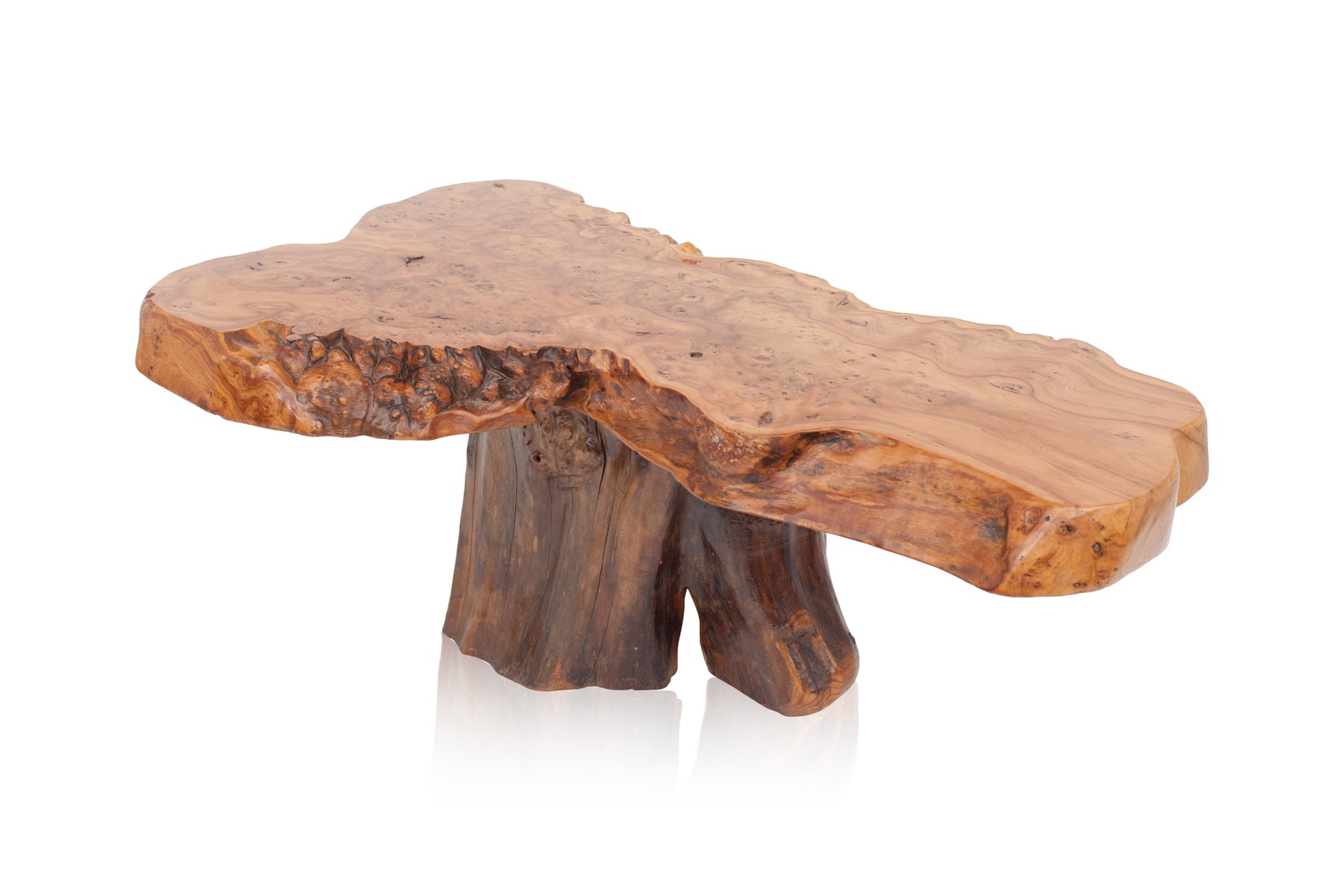 Vintage Natural Burl Wood High Gloss Coffee Table For Sale At Pamono