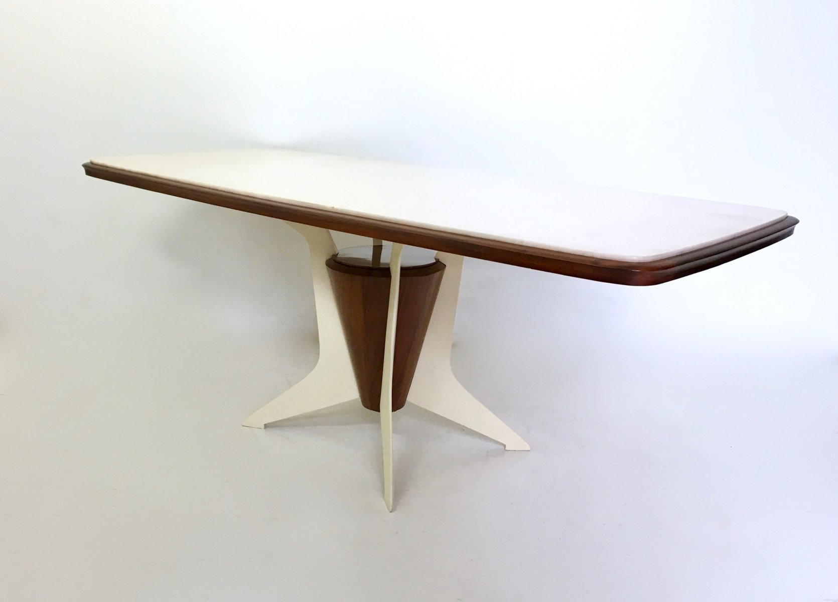 Italian wooden dining table with carrara marble top 1950s for Marble top dining table