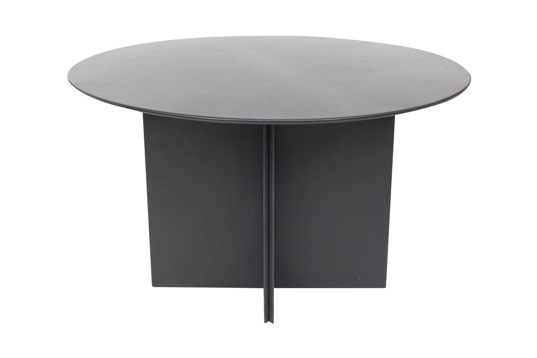 Round Dining Table With Black Leather From Durlet 1970s For Sale At Pamono